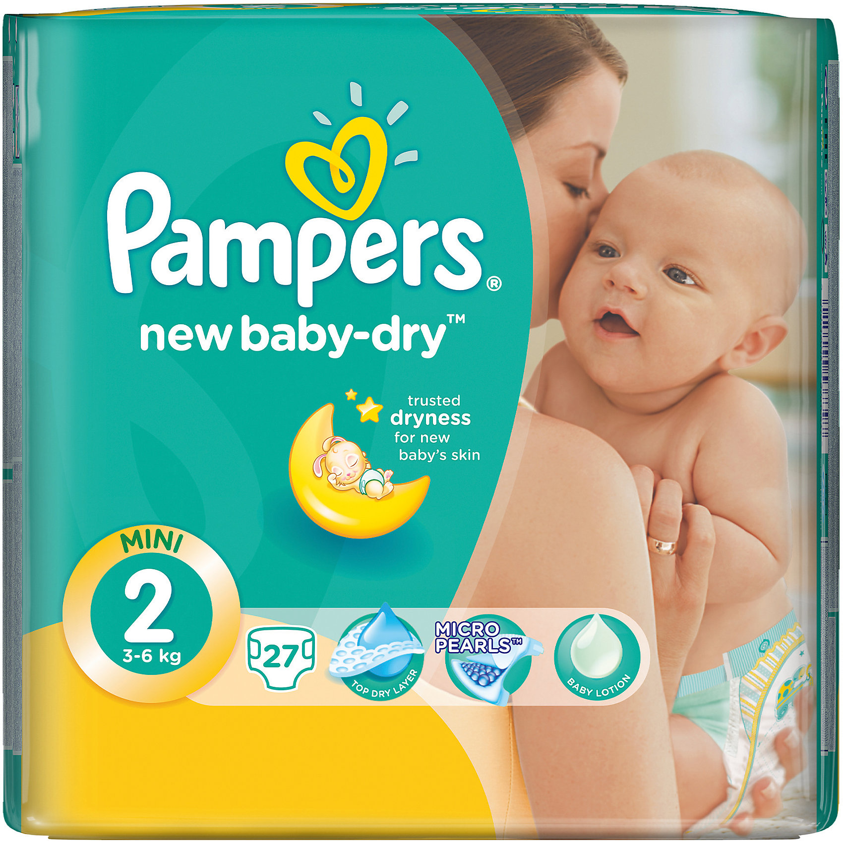 Подгузники Pampers New Baby-Dry, 3-6 кг, 2 размер, 27 шт., Pampers