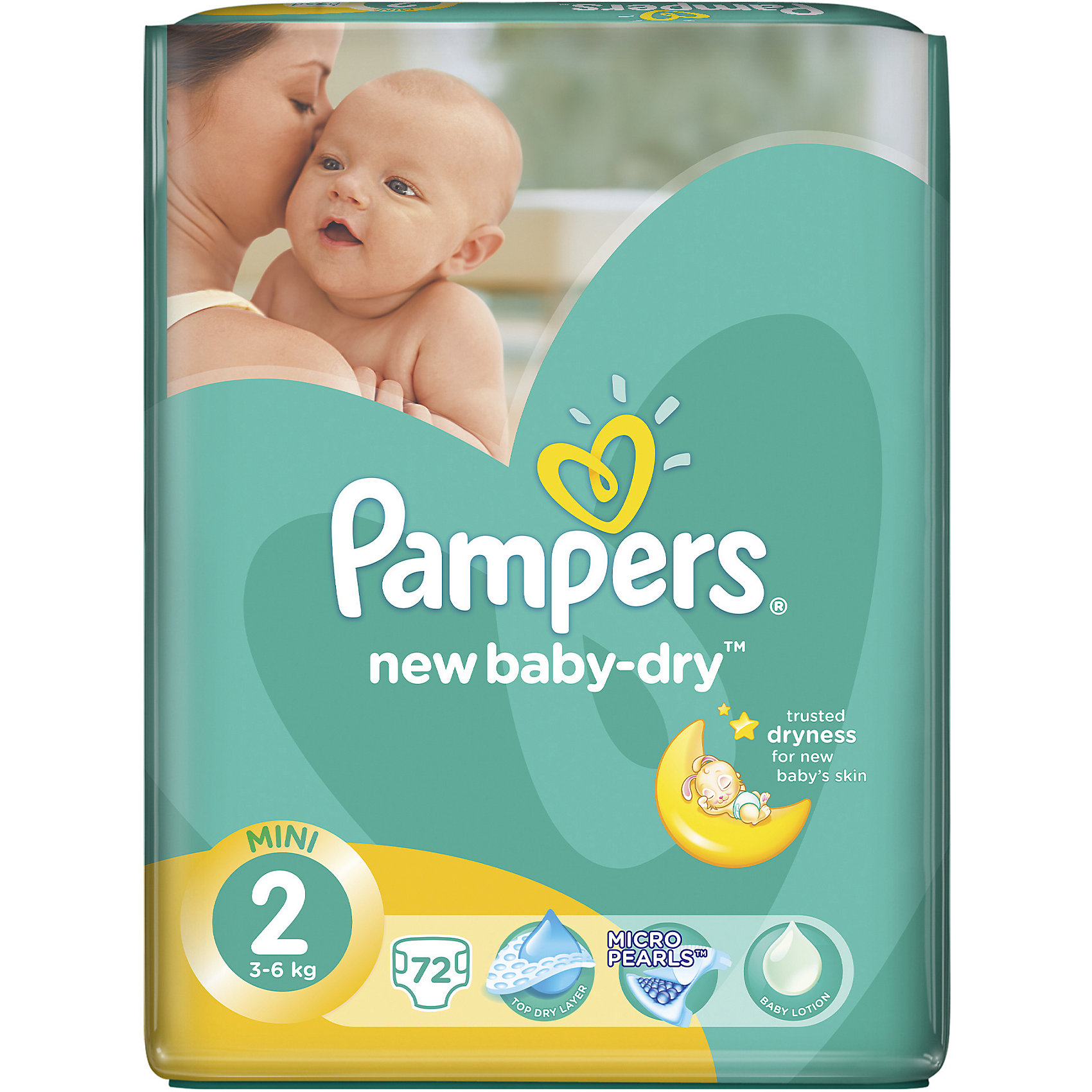 Подгузники Pampers New Baby-Dry, 3-6 кг, 2 размер, 72 шт., Pampers