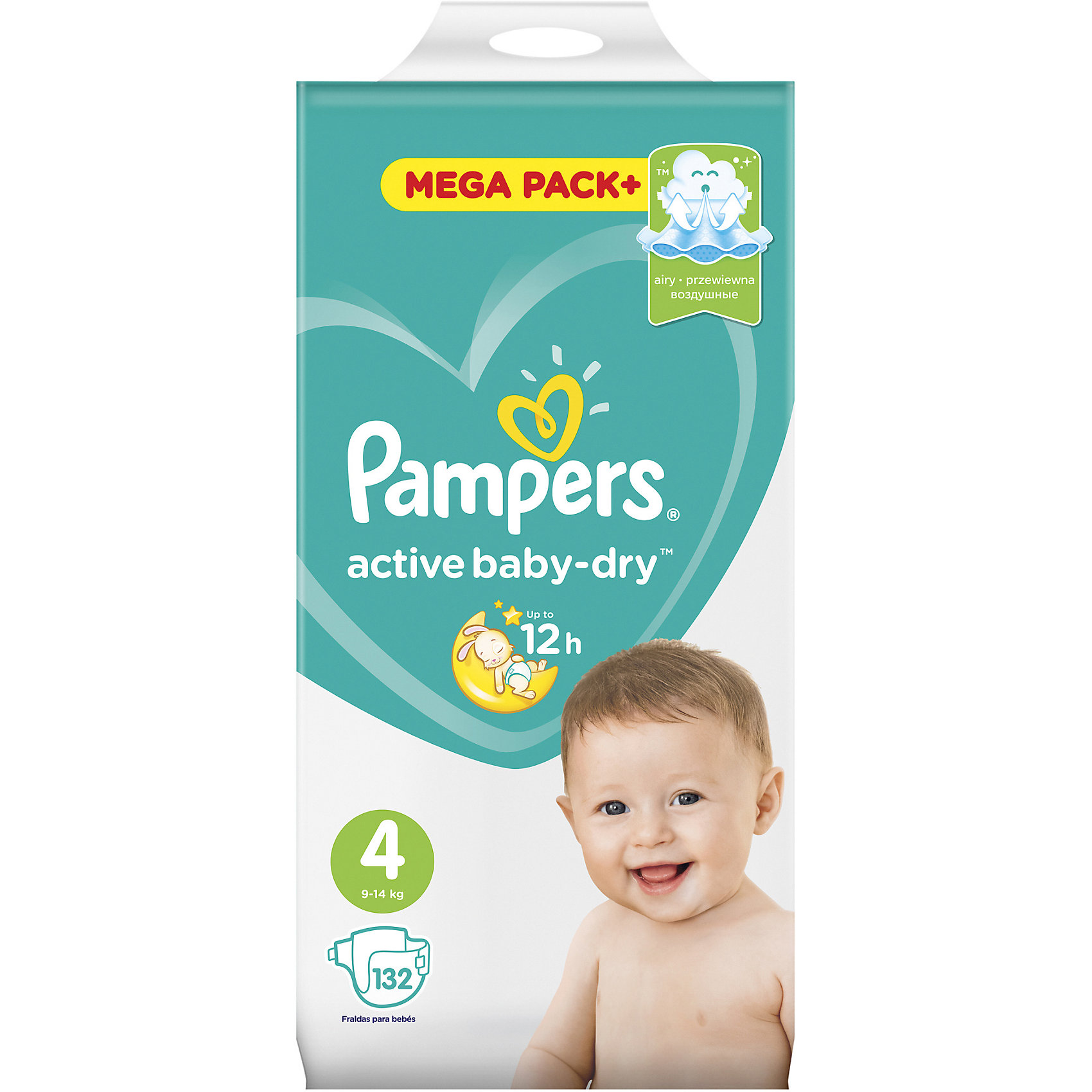 Подгузники Pampers Active Baby-Dry, 8-14 кг, 4 размер, 132 шт., PampersПодгузники 5-12 кг.<br>Характеристики:<br><br>• Пол: универсальный<br>• Тип подгузника: одноразовый<br>• Коллекция: Active Baby-Dry<br>• Предназначение: для использования в любое время суток <br>• Размер: 4<br>• Вес ребенка: от 8 до 14 кг<br>• Количество в упаковке: 132 шт.<br>• Упаковка: картонная коробка<br>• Размер упаковки: 37,3*23,6*38 см<br>• Вес в упаковке: 4 кг 686 г<br>• Эластичные застежки-липучки<br>• Быстро впитывающий слой<br>• Мягкий верхний слой<br>• Сохранение сухости в течение 12-ти часов<br><br>Подгузники Pampers Active Baby-Dry, 8-14 кг, 4 размер, 132 шт., Pampers – это линейка классических детских подгузников от Pampers, которая сочетает в себе качество и безопасность материалов, удобство использования и комфорт для нежной кожи малыша. Подгузники предназначены для младенцев весом до 14 кг. Инновационные технологии и современные материалы обеспечивают этим подгузникам Дышащие свойства, что особенно важно для кожи малыша. <br><br>Впитывающие свойства изделию обеспечивает уникальный слой, состоящий из жемчужных микрогранул. У подгузников предусмотрена эластичная мягкая резиночка на спинке. Широкие липучки с двух сторон обеспечивают надежную фиксацию. Подгузник имеет мягкий верхний слой, который обеспечивает не только комфорт, но и защищает кожу ребенка от раздражений. Подгузник подходит как для мальчиков, так и для девочек. <br><br>Подгузники Pampers Active Baby-Dry, 8-14 кг, 4 размер, 132 шт., Pampers можно купить в нашем интернет-магазине.<br><br>Ширина мм: 373<br>Глубина мм: 236<br>Высота мм: 380<br>Вес г: 4686<br>Возраст от месяцев: 6<br>Возраст до месяцев: 24<br>Пол: Унисекс<br>Возраст: Детский<br>SKU: 5419088