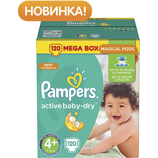 Подгузники Pampers Active Baby-Dry, 9-16 кг, 4+ размер, 120 шт., PampersПодгузники классические<br>Характеристики:<br><br>• Пол: универсальный<br>• Тип подгузника: одноразовый<br>• Коллекция: Active Baby-Dry<br>• Предназначение: для использования в любое время суток <br>• Размер: 4+<br>• Вес ребенка: от 9 до 16 кг<br>• Количество в упаковке: 120 шт.<br>• Упаковка: картонная коробка<br>• Размер упаковки: 35,7*23,6*38 см<br>• Вес в упаковке: 4 кг 380 г<br>• Эластичные застежки-липучки<br>• Быстро впитывающий слой<br>• Мягкий верхний слой<br>• Сохранение сухости в течение 12-ти часов<br><br>Подгузники Pampers Active Baby-Dry, 9-16 кг, 4+ размер, 120 шт., Pampers – это линейка классических детских подгузников от Pampers, которая сочетает в себе качество и безопасность материалов, удобство использования и комфорт для нежной кожи малыша. Подгузники предназначены для детей весом до 16 кг. Инновационные технологии и современные материалы обеспечивают этим подгузникам Дышащие свойства, что особенно важно для кожи малыша. <br><br>Впитывающие свойства изделию обеспечивает уникальный слой, состоящий из жемчужных микрогранул. У подгузников предусмотрена эластичная мягкая резиночка на спинке. Широкие липучки с двух сторон обеспечивают надежную фиксацию. Подгузник имеет мягкий верхний слой, который обеспечивает не только комфорт, но и защищает кожу ребенка от раздражений. Подгузник подходит как для мальчиков, так и для девочек. <br><br>Подгузники Pampers Active Baby-Dry, 9-16 кг, 4+ размер, 120 шт., Pampers можно купить в нашем интернет-магазине.<br>Ширина мм: 357; Глубина мм: 236; Высота мм: 380; Вес г: 438; Возраст от месяцев: 6; Возраст до месяцев: 24; Пол: Унисекс; Возраст: Детский; SKU: 5419089;
