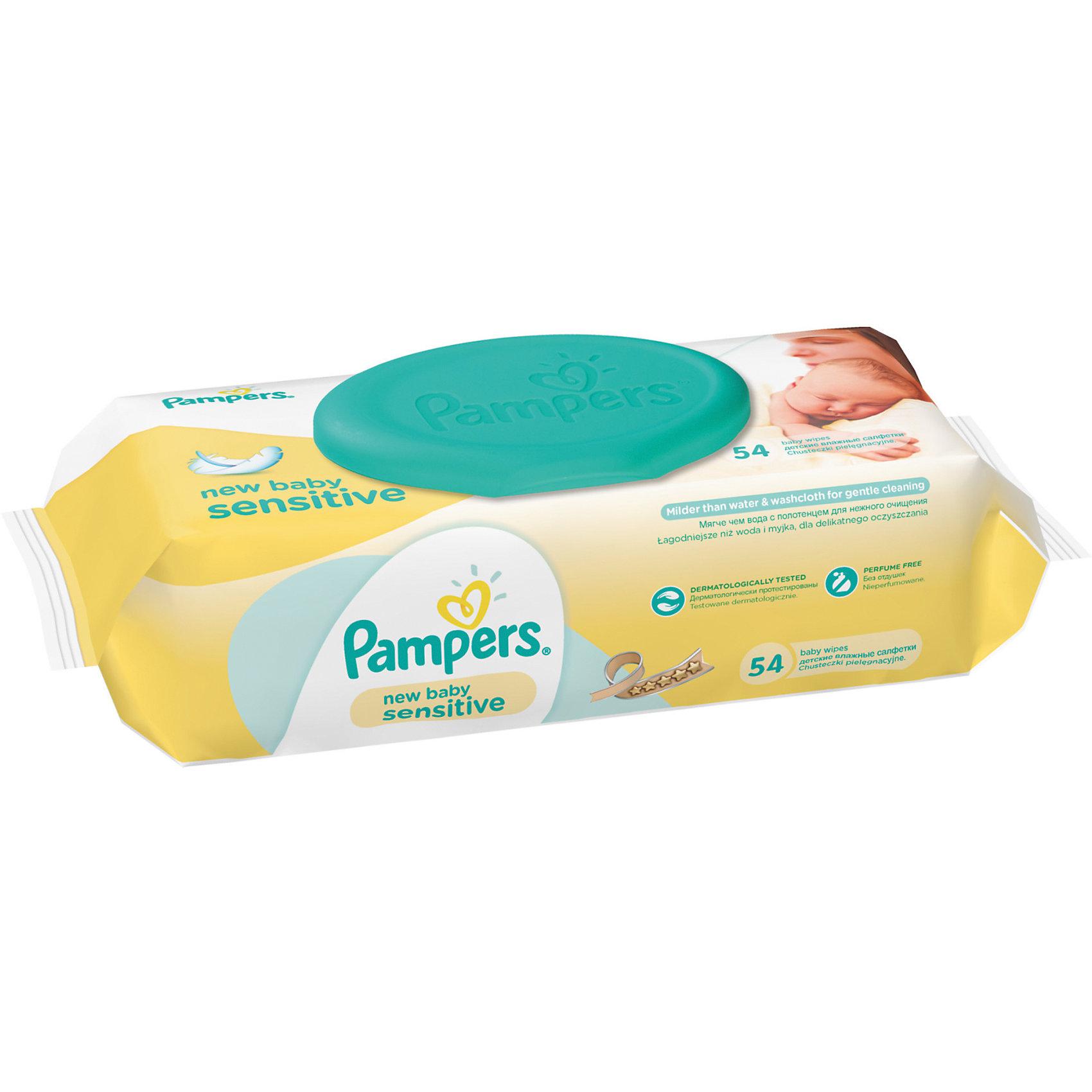 Салфетки детские влажные Pampers New Baby Sensitive, 54 шт., PampersВлажные салфетки<br>Характеристики:<br><br>• Пол: универсальный<br>• Тип салфеток: одноразовые<br>• Вид салфеток: влажные<br>• Коллекция: New Baby Sensitive<br>• Предназначение: для гигиены<br>• Количество в упаковке: 54 шт.<br>• Материал салфеток: 100% целлюлоза<br>• Состав лосьона: 95% вода, 5% экстракт натуральных масел<br>• Упаковка: полиэтиленовая упаковка с пластиковым клапаном многоразового использования<br>• Размер упаковки: 18,2*9*6,6 см<br>• Вес в упаковке: 531 г<br>• Поддерживает естественный ph уровень<br>• Мягкий верхний слой SoftGrip<br>• Не содержат отдушек и спирта<br>• Прошли дерматологические тестирования<br><br>Салфетки детские влажные Pampers New Baby Sensitive, 54 шт., Pampers – это линейка детских гигиенических салфеток от Pampers, предназначенных для ухода за нежной кожей новорожденного. Салфетки выполнены из 100% целлюлозы, имеют мягкий верхний слой SoftGrip, который не раздражает кожу ребенка во время процедур, при этом хорошо удерживает влагу. <br><br>Изделия пропитаны лосьоном, состоящим из 95% воды и 5% экстракта натуральных масел, что делает эти салфетки гипоаллергенными. Благодаря своему составу салфетки можно использовать для чувствительной кожи. Салфетки упакованы в полиэтиленовую упаковку и пластиковым защитным клапаном, что обеспечивает длительное сохранение их очищающих свойств и защищает от высыхания.<br><br>Салфетки детские влажные Pampers New Baby Sensitive, 54 шт., Pampers можно купить в нашем интернет-магазине.<br><br>Ширина мм: 182<br>Глубина мм: 90<br>Высота мм: 66<br>Вес г: 531<br>Возраст от месяцев: 0<br>Возраст до месяцев: 36<br>Пол: Унисекс<br>Возраст: Детский<br>SKU: 5419091
