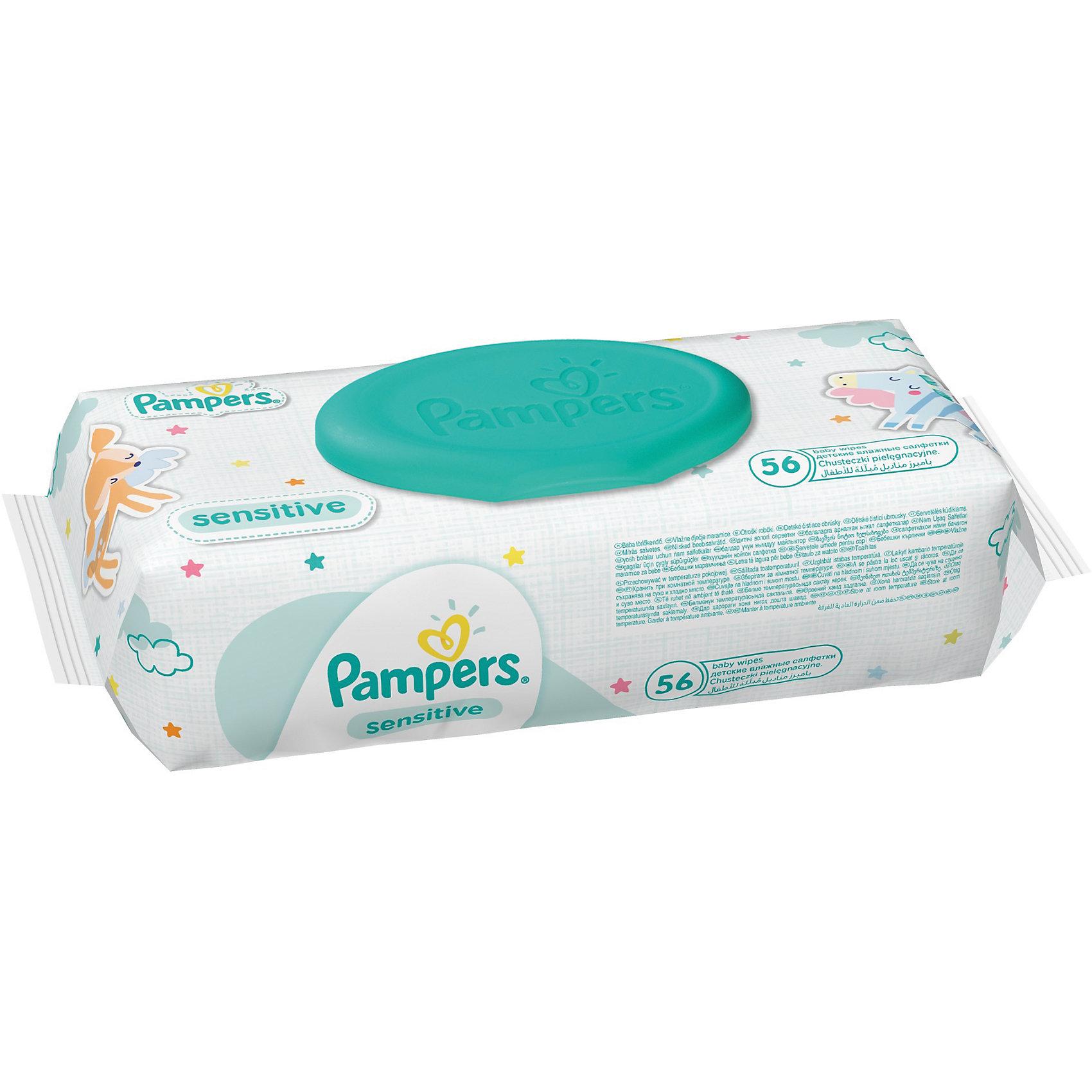 Салфетки детские влажные Pampers  Sensitive, 56 шт., PampersВлажные салфетки<br>Характеристики:<br><br>• Пол: универсальный<br>• Тип салфеток: одноразовые<br>• Вид салфеток: влажные<br>• Коллекция: Sensitive<br>• Предназначение: для гигиены<br>• Количество в упаковке: 56 шт.<br>• Материал салфеток: 100% целлюлоза<br>• Состав лосьона: 95% вода, 5% экстракт натуральных масел<br>• Упаковка: полиэтиленовая упаковка с пластиковым клапаном многоразового использования<br>• Размер упаковки: 18,2*9,1*4,9 см<br>• Вес в упаковке: 483 г<br>• Уплотненная текстура салфеток<br>• Поддерживает естественный ph уровень<br>• Мягкий верхний слой SoftGrip<br>• Не содержат отдушек и спирта<br>• Прошли дерматологические тестирования<br><br>Салфетки детские влажные Pampers Sensitive, 56 шт., Pampers – это линейка детских гигиенических салфеток от Pampers, предназначенных для ухода за нежной кожей новорожденных и младенцев. Салфетки выполнены из 100% целлюлозы, имеют мягкий верхний слой SoftGrip, который не раздражает кожу ребенка во время процедур, при этом хорошо удерживает влагу. <br><br>Изделия пропитаны лосьоном, состоящим из 95% воды и 5% экстракта натуральных масел, что делает эти салфетки гипоаллергенными. Благодаря своему составу салфетки можно использовать для чувствительной кожи. Салфетки упакованы в полиэтиленовую упаковку и пластиковым защитным клапаном, что обеспечивает длительное сохранение их очищающих свойств и защищает от высыхания.<br><br>Салфетки детские влажные Pampers Sensitive, 56 шт., Pampers можно купить в нашем интернет-магазине.<br><br>Ширина мм: 185<br>Глубина мм: 91<br>Высота мм: 49<br>Вес г: 483<br>Возраст от месяцев: 0<br>Возраст до месяцев: 36<br>Пол: Унисекс<br>Возраст: Детский<br>SKU: 5419092