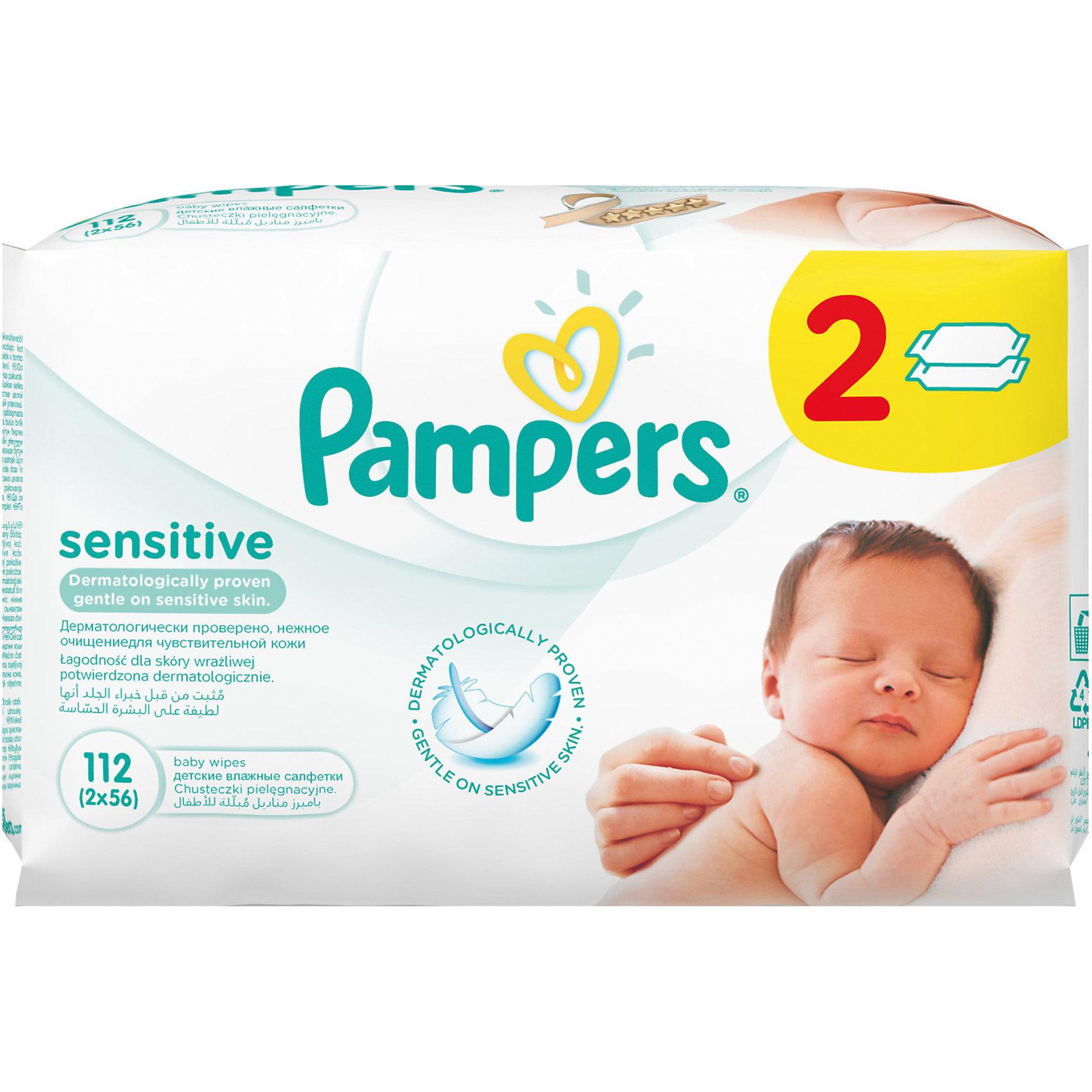 Салфетки детские влажные Pampers  Sensitive,  112 шт., PampersВлажные салфетки<br>Характеристики:<br><br>• Пол: универсальный<br>• Тип салфеток: одноразовые<br>• Вид салфеток: влажные<br>• Коллекция: Sensitive<br>• Предназначение: для гигиены<br>• Количество в упаковке: 112 шт.<br>• Материал салфеток: 100% целлюлоза<br>• Состав лосьона: 95% вода, 5% экстракт натуральных масел<br>• Упаковка: полиэтиленовая упаковка с клапаном многоразового использования<br>• Размер упаковки: 18,4*9,1*9,8 см<br>• Вес в упаковке: 972 г<br>• Уплотненная текстура салфеток<br>• Поддерживает естественный ph уровень<br>• Мягкий верхний слой SoftGrip<br>• Не содержат отдушек и спирта<br>• Прошли дерматологические тестирования<br><br>Салфетки детские влажные Pampers Sensitive, 112 шт., Pampers – это линейка детских гигиенических салфеток от Pampers, предназначенных для ухода за нежной кожей новорожденных и младенцев. Салфетки выполнены из 100% целлюлозы, имеют мягкий верхний слой SoftGrip, который не раздражает кожу ребенка во время процедур, при этом хорошо удерживает влагу. <br><br>Изделия пропитаны лосьоном, состоящим из 95% воды и 5% экстракта натуральных масел, что делает эти салфетки гипоаллергенными. Благодаря своему составу салфетки можно использовать для чувствительной кожи. Салфетки упакованы в полиэтиленовую упаковку и защитным клапаном, который обеспечивает длительное сохранение их очищающих свойств и защищает от высыхания.<br><br>Салфетки детские влажные Pampers Sensitive, 112 шт., Pampers можно купить в нашем интернет-магазине.<br><br>Ширина мм: 184<br>Глубина мм: 91<br>Высота мм: 98<br>Вес г: 972<br>Возраст от месяцев: 0<br>Возраст до месяцев: 36<br>Пол: Унисекс<br>Возраст: Детский<br>SKU: 5419093