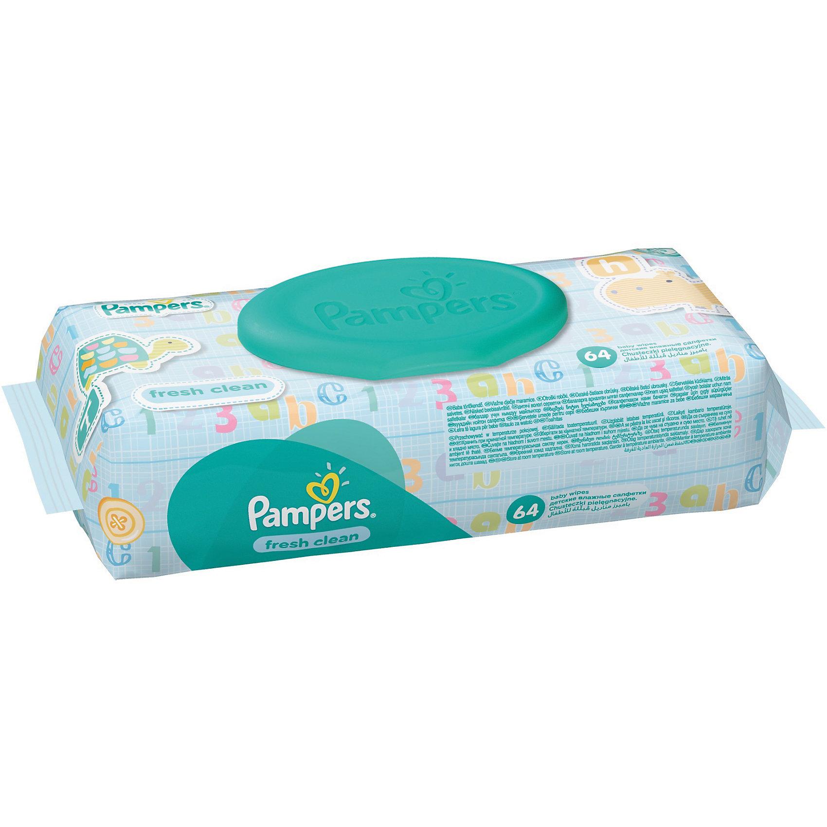 Салфетки детские влажные Pampers  Baby Fresh Clean, 64 шт., PampersВлажные салфетки<br>Характеристики:<br><br>• Пол: универсальный<br>• Тип салфеток: одноразовые<br>• Вид салфеток: влажные<br>• Коллекция: Baby Fresh Clean<br>• Предназначение: для гигиены<br>• Количество в упаковке: 64 шт.<br>• Материал салфеток: 100% целлюлоза<br>• Состав лосьона: 95% вода, 5% экстракт натуральных масел<br>• Упаковка: полиэтиленовая упаковка с пластиковым клапаном многоразового использования<br>• Размер упаковки: 18,5*9,1*4,9 см<br>• Вес в упаковке: 414 г<br>• Поддерживает естественный ph уровень<br>• Мягкий верхний слой SoftGrip<br>• Дополнительное увлажнение<br>• Прошли дерматологические тестирования<br><br>Салфетки детские влажные Pampers Baby Fresh Clean, 64 шт., Pampers – это линейка детских гигиенических салфеток от Pampers, предназначенных для ухода за нежной кожей новорожденных и младенцев. Салфетки выполнены из 100% целлюлозы, имеют мягкий верхний слой SoftGrip, который не раздражает кожу ребенка во время процедур, при этом хорошо удерживает влагу. <br><br>Изделия пропитаны лосьоном, состоящим из 95% воды и 5% экстракта натуральных масел, что делает эти салфетки гипоаллергенными. Благодаря своему составу салфетки можно использовать для чувствительной кожи. Салфетки упакованы в полиэтиленовую упаковку и пластиковым защитным клапаном, что обеспечивает длительное сохранение их очищающих свойств и защищает от высыхания.<br><br>Салфетки детские влажные Pampers Baby Fresh Clean, 64 шт., Pampers можно купить в нашем интернет-магазине.<br><br>Ширина мм: 185<br>Глубина мм: 91<br>Высота мм: 49<br>Вес г: 414<br>Возраст от месяцев: 0<br>Возраст до месяцев: 36<br>Пол: Унисекс<br>Возраст: Детский<br>SKU: 5419095