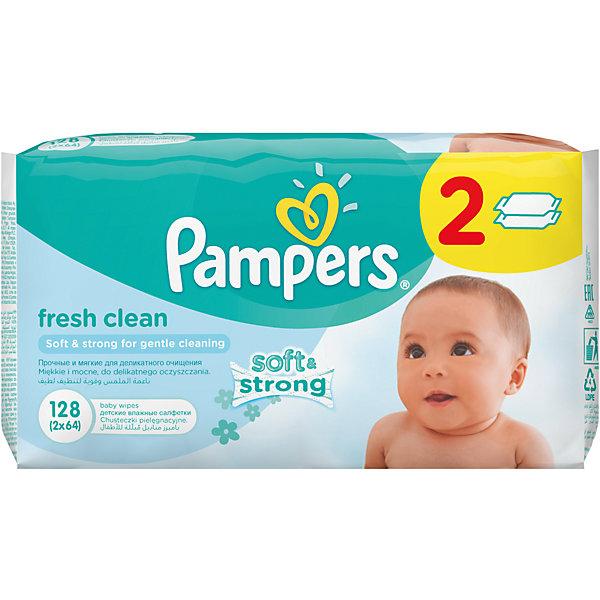 Салфетки детские влажные Pampers  Baby Fresh Clean,  128 шт., PampersВлажные салфетки<br>Характеристики:<br><br>• Пол: универсальный<br>• Тип салфеток: одноразовые<br>• Вид салфеток: влажные<br>• Коллекция: Baby Fresh Clean<br>• Предназначение: для гигиены<br>• Количество в упаковке: 128 шт.<br>• Материал салфеток: 100% целлюлоза<br>• Упаковка: полиэтиленовая упаковка с пластиковым клапаном многоразового использования<br>• Размер упаковки: 18,5*9,1*9,8 см<br>• Вес в упаковке: 834 г<br>• Поддерживает естественный ph уровень<br>• Мягкий верхний слой SoftGrip<br>• Дополнительное увлажнение<br>• Прошли дерматологические тестирования<br><br>Салфетки детские влажные Pampers Baby Fresh Clean, 128 шт., Pampers – это линейка детских гигиенических салфеток от Pampers, предназначенных для ухода за нежной кожей новорожденных и младенцев. Салфетки выполнены из 100% целлюлозы, имеют мягкий верхний слой SoftGrip, который не раздражает кожу ребенка во время процедур, при этом хорошо удерживает влагу. <br><br>Изделия пропитаны лосьоном, состоящим из 95% воды и 5% экстракта натуральных масел, что делает эти салфетки гипоаллергенными. Благодаря своему составу салфетки можно использовать для чувствительной кожи. Салфетки упакованы в полиэтиленовую упаковку и пластиковым защитным клапаном, что обеспечивает длительное сохранение их очищающих свойств и защищает от высыхания.<br><br>Салфетки детские влажные Pampers Baby Fresh Clean, 128 шт., Pampers можно купить в нашем интернет-магазине.<br>Ширина мм: 185; Глубина мм: 91; Высота мм: 98; Вес г: 834; Возраст от месяцев: 0; Возраст до месяцев: 36; Пол: Унисекс; Возраст: Детский; SKU: 5419096;