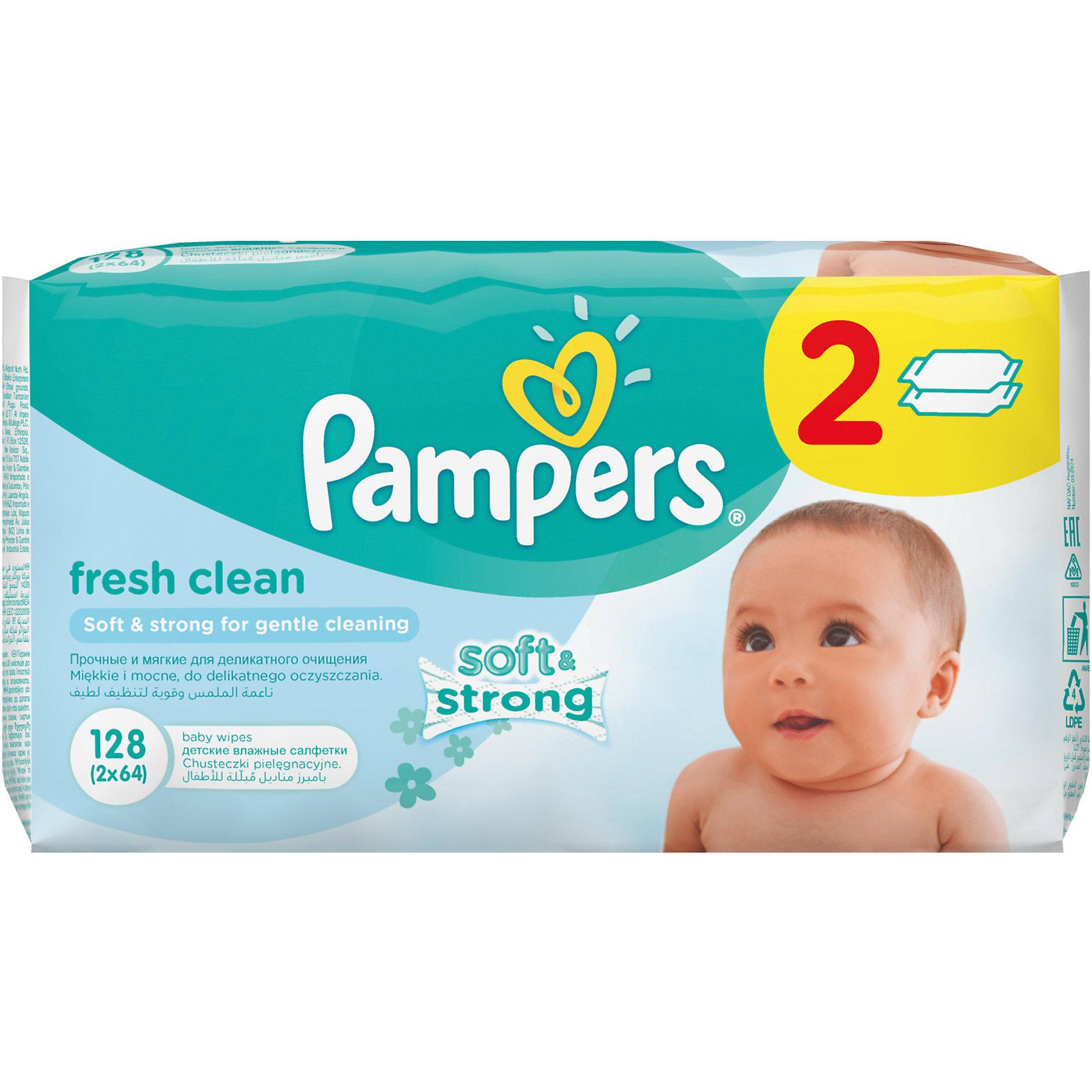 Салфетки детские влажные Pampers  Baby Fresh Clean,  128 шт., PampersХарактеристики:<br><br>• Пол: универсальный<br>• Тип салфеток: одноразовые<br>• Вид салфеток: влажные<br>• Коллекция: Baby Fresh Clean<br>• Предназначение: для гигиены<br>• Количество в упаковке: 128 шт.<br>• Материал салфеток: 100% целлюлоза<br>• Упаковка: полиэтиленовая упаковка с пластиковым клапаном многоразового использования<br>• Размер упаковки: 18,5*9,1*9,8 см<br>• Вес в упаковке: 834 г<br>• Поддерживает естественный ph уровень<br>• Мягкий верхний слой SoftGrip<br>• Дополнительное увлажнение<br>• Прошли дерматологические тестирования<br><br>Салфетки детские влажные Pampers Baby Fresh Clean, 128 шт., Pampers – это линейка детских гигиенических салфеток от Pampers, предназначенных для ухода за нежной кожей новорожденных и младенцев. Салфетки выполнены из 100% целлюлозы, имеют мягкий верхний слой SoftGrip, который не раздражает кожу ребенка во время процедур, при этом хорошо удерживает влагу. <br><br>Изделия пропитаны лосьоном, состоящим из 95% воды и 5% экстракта натуральных масел, что делает эти салфетки гипоаллергенными. Благодаря своему составу салфетки можно использовать для чувствительной кожи. Салфетки упакованы в полиэтиленовую упаковку и пластиковым защитным клапаном, что обеспечивает длительное сохранение их очищающих свойств и защищает от высыхания.<br><br>Салфетки детские влажные Pampers Baby Fresh Clean, 128 шт., Pampers можно купить в нашем интернет-магазине.<br><br>Ширина мм: 185<br>Глубина мм: 91<br>Высота мм: 98<br>Вес г: 834<br>Возраст от месяцев: 0<br>Возраст до месяцев: 36<br>Пол: Унисекс<br>Возраст: Детский<br>SKU: 5419096