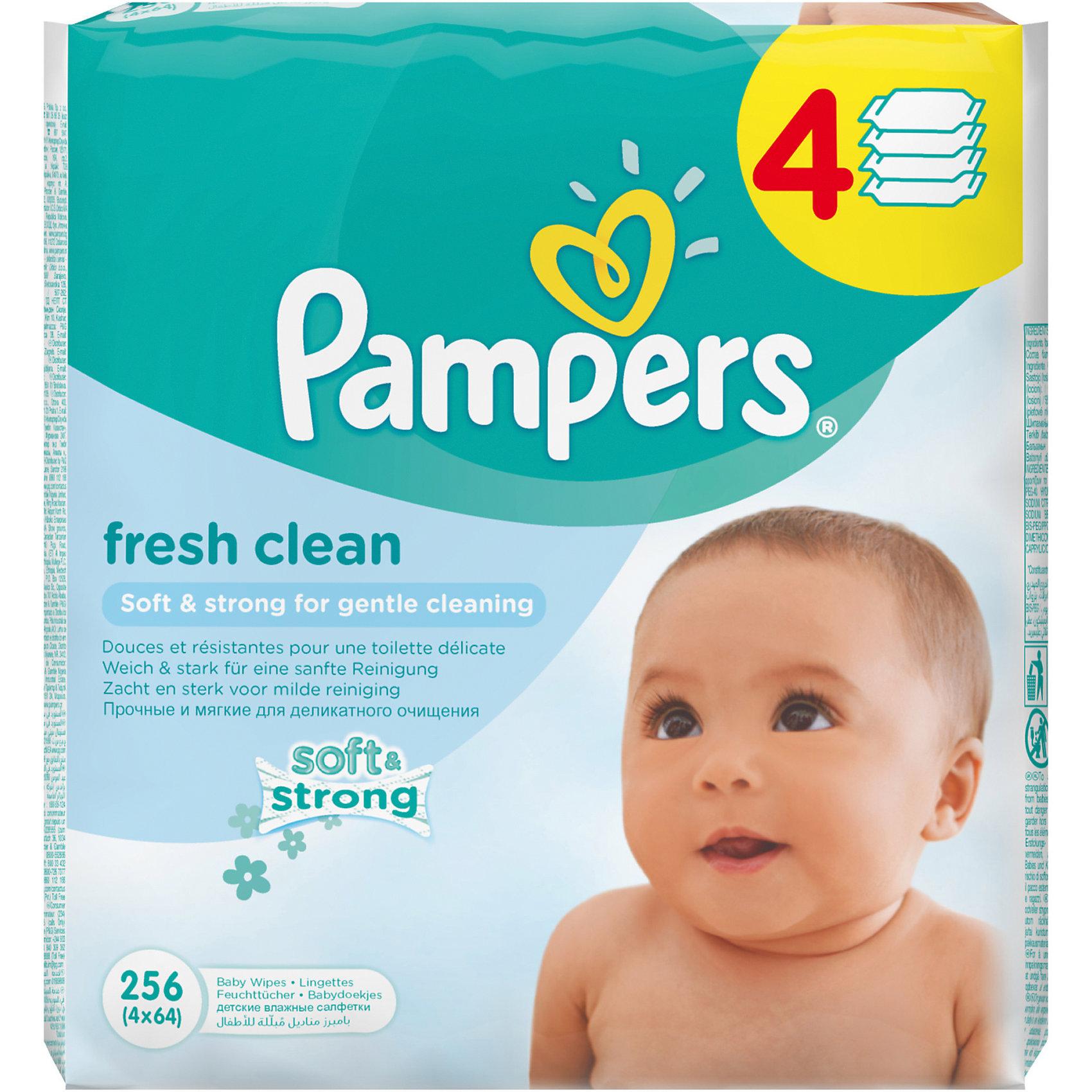 Салфетки детские влажные Pampers  Baby Fresh Clean,  256 шт., PampersВлажные салфетки<br>Характеристики:<br><br>• Пол: универсальный<br>• Тип салфеток: одноразовые<br>• Вид салфеток: влажные<br>• Коллекция: Baby Fresh Clean<br>• Предназначение: для гигиены<br>• Количество в упаковке: 256 шт.<br>• Материал салфеток: 100% целлюлоза<br>• Упаковка: полиэтиленовая упаковка с клапаном многоразового использования<br>• Размер упаковки: 18,5*9,1*9,8 см<br>• Вес в упаковке: 1 кг 562 г<br>• Поддерживает естественный ph уровень<br>• Мягкий верхний слой SoftGrip<br>• Дополнительное увлажнение<br>• Прошли дерматологические тестирования<br><br>Салфетки детские влажные Pampers Baby Fresh Clean, 256 шт., Pampers – это линейка детских гигиенических салфеток от Pampers, предназначенных для ухода за нежной кожей новорожденных и младенцев. Салфетки выполнены из 100% целлюлозы, имеют мягкий верхний слой SoftGrip, который не раздражает кожу ребенка во время процедур, при этом хорошо удерживает влагу. <br><br>Изделия пропитаны лосьоном, состоящим из 95% воды и 5% экстракта натуральных масел, что делает эти салфетки гипоаллергенными. Благодаря своему составу салфетки можно использовать для чувствительной кожи. Салфетки упакованы в полиэтиленовую упаковку и защитным клапаном, что обеспечивает длительное сохранение их очищающих свойств и защищает от высыхания.<br><br>Салфетки детские влажные Pampers Baby Fresh Clean, 256 шт., Pampers можно купить в нашем интернет-магазине.<br><br>Ширина мм: 177<br>Глубина мм: 90<br>Высота мм: 196<br>Вес г: 1562<br>Возраст от месяцев: 0<br>Возраст до месяцев: 36<br>Пол: Унисекс<br>Возраст: Детский<br>SKU: 5419097
