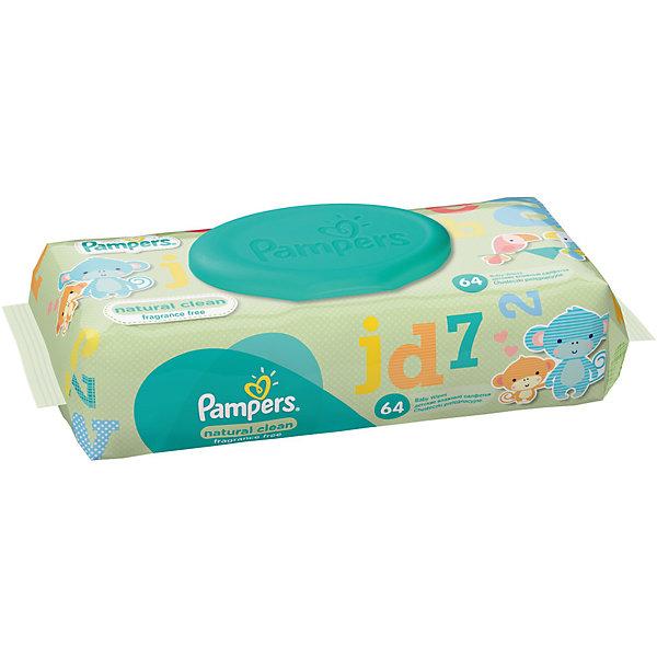 Салфетки детские влажные Pampers  Natural Clean, 64 шт., PampersВлажные салфетки<br>Характеристики:<br><br>• Пол: универсальный<br>• Тип салфеток: одноразовые<br>• Вид салфеток: влажные<br>• Коллекция: Natural Clean<br>• Предназначение: для гигиены<br>• Количество в упаковке: 64 шт.<br>• Материал салфеток: 100% целлюлоза<br>• Состав лосьона: 95% вода, 5% экстракт ромашки<br>• Упаковка: полиэтиленовая упаковка с пластиковым клапаном многоразового использования<br>• Размер упаковки: 18,5*9,1*4,9 см<br>• Вес в упаковке: 414 г<br>• Поддерживает естественный ph уровень<br>• Мягкий верхний слой SoftGrip<br>• Дополнительное увлажнение<br>• Прошли дерматологические тестирования<br><br>Салфетки детские влажные Pampers Natural Clean, 64 шт., Pampers – это линейка детских гигиенических салфеток от Pampers, предназначенных для ухода за нежной кожей новорожденных и младенцев. Салфетки выполнены из 100% целлюлозы, имеют мягкий верхний слой SoftGrip, который не раздражает кожу ребенка во время процедур, при этом хорошо удерживает влагу. <br><br>Изделия пропитаны лосьоном, состоящим из 95% воды и 5% экстракта ромашки, что делает эти салфетки гипоаллергенными. Благодаря своему составу салфетки можно использовать для чувствительной кожи. Салфетки упакованы в полиэтиленовую упаковку и пластиковым защитным клапаном, что обеспечивает длительное сохранение их очищающих свойств и защищает от высыхания.<br><br>Салфетки детские влажные Pampers Natural Clean, 64 шт., Pampers можно купить в нашем интернет-магазине.<br>Ширина мм: 185; Глубина мм: 91; Высота мм: 49; Вес г: 414; Возраст от месяцев: 0; Возраст до месяцев: 36; Пол: Унисекс; Возраст: Детский; SKU: 5419098;