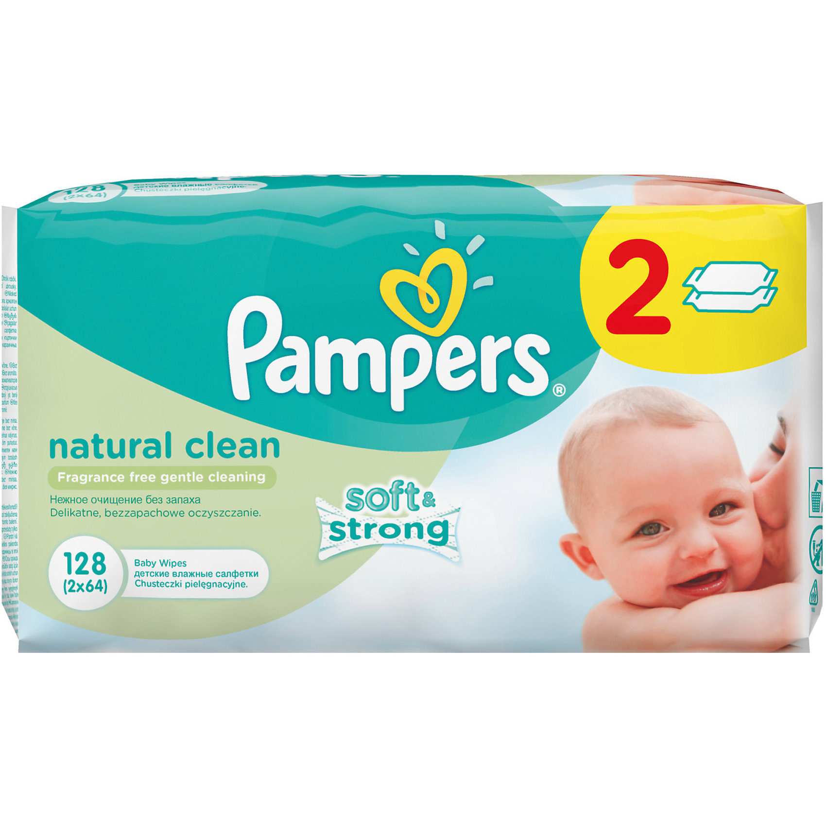 Салфетки детские влажные Pampers  Natural Clean,  128 шт., Pampers
