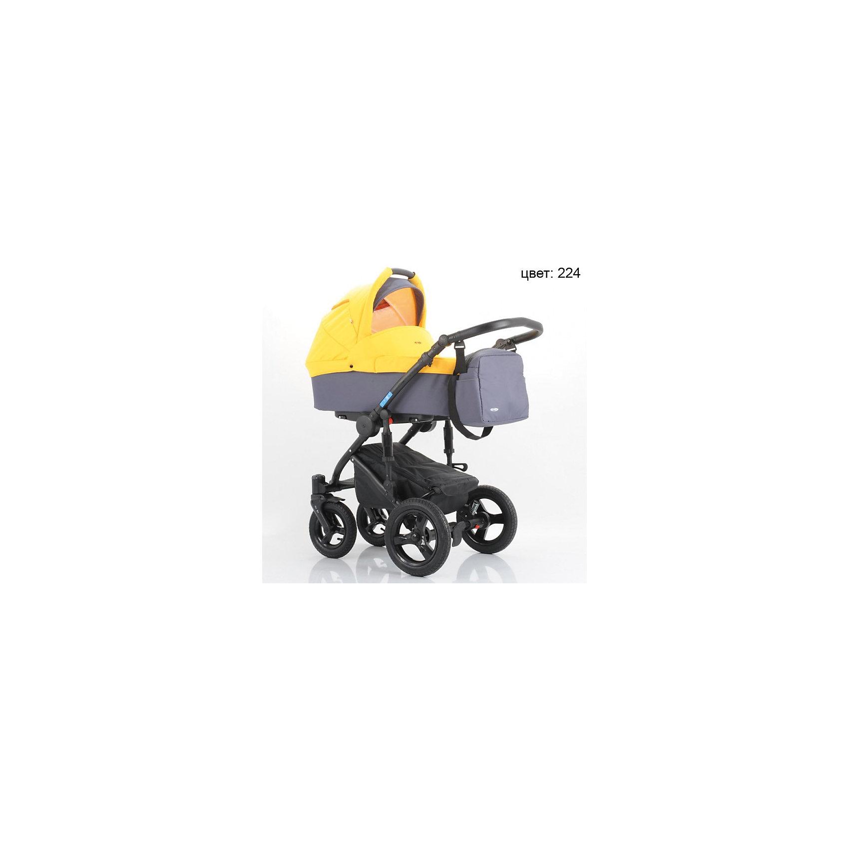 Коляска  AroTeam SIGMA New 2в1, графит+желтыйКоляски 2 в 1<br>Характеристики коляски AroTeam SIGMA New 2в1<br><br>Люлька:<br><br>• жесткое основание люльки;<br>• смотровое окошко на капюшоне под клапаном;<br>• регулируемый подголовник, рычаг расположен снаружи;<br>• имеется ручка для переноски люльки;<br>• размер люльки: 82х37х20 см.<br><br>Прогулочный блок:<br><br>• смотровое окошко на капюшоне, солнцезащитный козырек;<br>• бампер отстегивается с одной стороны;<br>• регулируемый угол наклона спинки: 4 положения вплоть до горизонтального;<br>• 5-ти точечные ремни безопасности;<br>• регулируемая подножка: 2 положения;<br>• съемные чехлы, стирка при температуре 30 градусов.<br><br>Шасси с колесами:<br><br>• материал рамы: алюминий;<br>• передние поворотные колеса с функцией блокировки, диаметр 23 см, колеса надувные, материал ПВХ;<br>• задние надувные колеса, диаметр 29 см, материал ПВХ;<br>• ручка коляски регулируется по высоте;<br>• механизм складывания: книжка;<br>• рама складывается без прогулочного блока;<br>• тип тормоза: ножной.<br><br>Размеры:<br><br>• коляска в разложенном виде: 85х60х105 см;<br>• вес коляски: 15,9 кг;<br>• вес в упаковке: 23,9 кг.<br><br>Комплектация:<br><br>• люлька с матрасиком и накидкой;<br>• прогулочный блок с бампером и накидкой;<br>• шасси с колесами;<br>• корзина для покупок;<br>• дождевик;<br>• москитная сетка;<br>• сумка для мамы. <br><br>Коляску SIGMA New 2в1, AroTeam, графит+желтый можно купить в нашем интернет-магазине.<br><br>Ширина мм: 900<br>Глубина мм: 520<br>Высота мм: 500<br>Вес г: 23900<br>Возраст от месяцев: 0<br>Возраст до месяцев: 36<br>Пол: Унисекс<br>Возраст: Детский<br>SKU: 5419808