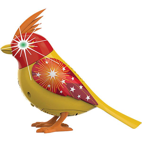 Птичка с мерцающими глазами, желто-красная, DigiBirdsИнтерактивные животные<br>Птичка с мерцающими глазами, желто-красная, DigiBirds<br><br>Характеристики:<br><br>• Возраст: от 3 лет<br>• Цвет: желто-красный<br>• В комплекте: 1 птичка, кольцо<br>• Батарейки: 3 (мини)<br>• Материал: пластик<br><br>В программу этой поющей птички заложено более пятидесяти различных звуков и мелодий! Она может петь и шевелиться, а так же стоять на любой поверхности, а не только на своей жердочке, что делает ее мобильной и позволяет ребенку носить ее с собой. <br><br>При приобретении нескольких игрушек данной серии она может даже петь с ними в хоре. Для активации игрушки необходимо подуть в свисток, который идет в комплекте. При пении у птички светятся глаза, она может открывать клюв и шевелить головой.<br><br>Птичка с мерцающими глазами, желто-красная, DigiBirds можно купить в нашем интернет-магазине.<br>Ширина мм: 64; Глубина мм: 152; Высота мм: 102; Вес г: 91; Возраст от месяцев: 36; Возраст до месяцев: 84; Пол: Женский; Возраст: Детский; SKU: 5420002;