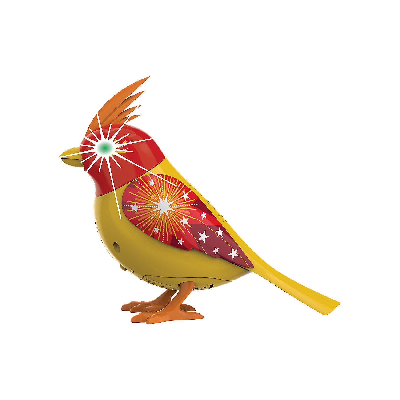 Птичка с мерцающими глазами, желто-красная, DigiBirdsИнтерактивные животные<br>Птичка с мерцающими глазами, желто-красная, DigiBirds<br><br>Характеристики:<br><br>• Возраст: от 3 лет<br>• Цвет: желто-красный<br>• В комплекте: 1 птичка, кольцо<br>• Батарейки: 3 (мини)<br>• Материал: пластик<br><br>В программу этой поющей птички заложено более пятидесяти различных звуков и мелодий! Она может петь и шевелиться, а так же стоять на любой поверхности, а не только на своей жердочке, что делает ее мобильной и позволяет ребенку носить ее с собой. <br><br>При приобретении нескольких игрушек данной серии она может даже петь с ними в хоре. Для активации игрушки необходимо подуть в свисток, который идет в комплекте. При пении у птички светятся глаза, она может открывать клюв и шевелить головой.<br><br>Птичка с мерцающими глазами, желто-красная, DigiBirds можно купить в нашем интернет-магазине.<br><br>Ширина мм: 64<br>Глубина мм: 152<br>Высота мм: 102<br>Вес г: 91<br>Возраст от месяцев: 36<br>Возраст до месяцев: 84<br>Пол: Женский<br>Возраст: Детский<br>SKU: 5420002