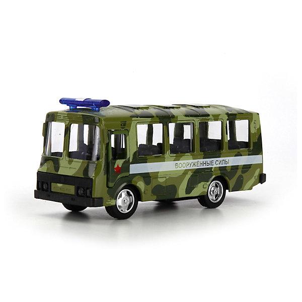 Автобус ПАЗ военный, ТЕХНОПАРКМашинки<br>Характеристики:<br><br>• тип игрушки: машина;<br>• возраст: от 3 лет;<br>• размер: 8х18х14 см;<br>• цвет: серый;<br>• материал: металл, пластик;<br>• бренд: Технопарк;<br>• страна производителя: Китай.<br><br>Машина Технопарк «ПАЗ военный»  представляет собой модель автомобиля вооруженных сил. Все детали и элементы модели тщательно проработаны и очень детализированы, а открывающиеся двери, камуфляжное покрытие и проблесковый маячок делают ее внешний вид еще более реалистичным. Благодаря инерционному механизму, автомобиль сможет сам преодолевать длительные расстояния - нужно всего лишь слегка отодвинуть его назад.<br><br>Тематические игры с интересными сюжетами разбудят воображение ребёнка, а манипуляции с игрушкой потренируют мелкую моторику пальцев рук. Масштабные модели от компании «Технопарк» отличаются качественными ударопрочными материалами, продлевающими долговечность изделия тщательным исполнением со вниманием ко всем деталям, и имеют требуемые сертификаты соответствия для детских игрушек.<br><br>Машину Технопарк  «ПАЗ военный» можно купить в нашем интернет-магазине.<br>Ширина мм: 80; Глубина мм: 140; Высота мм: 180; Вес г: 220; Возраст от месяцев: 36; Возраст до месяцев: 84; Пол: Мужской; Возраст: Детский; SKU: 5420337;