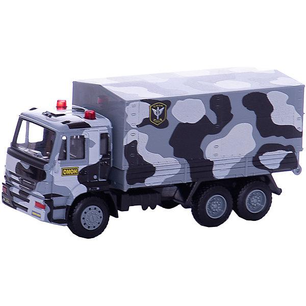 Грузовик, ТЕХНОПАРКВоенный транспорт<br>Характеристики:<br><br>• тип игрушки: машина;<br>• возраст: от 3 лет;<br>• размер: 20х14х5 см;<br>• цвет: серый;<br>• материал: металл, пластик;<br>• бренд: Технопарк;<br>• страна производителя: Китай.<br><br>Машина Технопарк «Грузовик»  является точной копией специальной техники службы быстрого реагирования ОМОН - грузовика с мигалками на крыше. Кабина и кузов высокодетализированы, поэтому машинка выглядит очень реалистично. Чтобы грузовик начал двигаться по поверхности, крохе достаточно лишь оттянуть его назад и запустить инерционный механизм.<br>Тематические игры с интересными сюжетами разбудят воображение ребёнка, а манипуляции с игрушкой потренируют мелкую моторику пальцев рук. Масштабные модели от компании «Технопарк» отличаются качественными ударопрочными материалами, продлевающими долговечность изделия тщательным исполнением со вниманием ко всем деталям, и имеют требуемые сертификаты соответствия для детских игрушек.<br><br>Машину Технопарк  «Грузовик» можно купить в нашем интернет-магазине.<br>Ширина мм: 50; Глубина мм: 140; Высота мм: 200; Вес г: 190; Возраст от месяцев: 36; Возраст до месяцев: 84; Пол: Мужской; Возраст: Детский; SKU: 5420353;