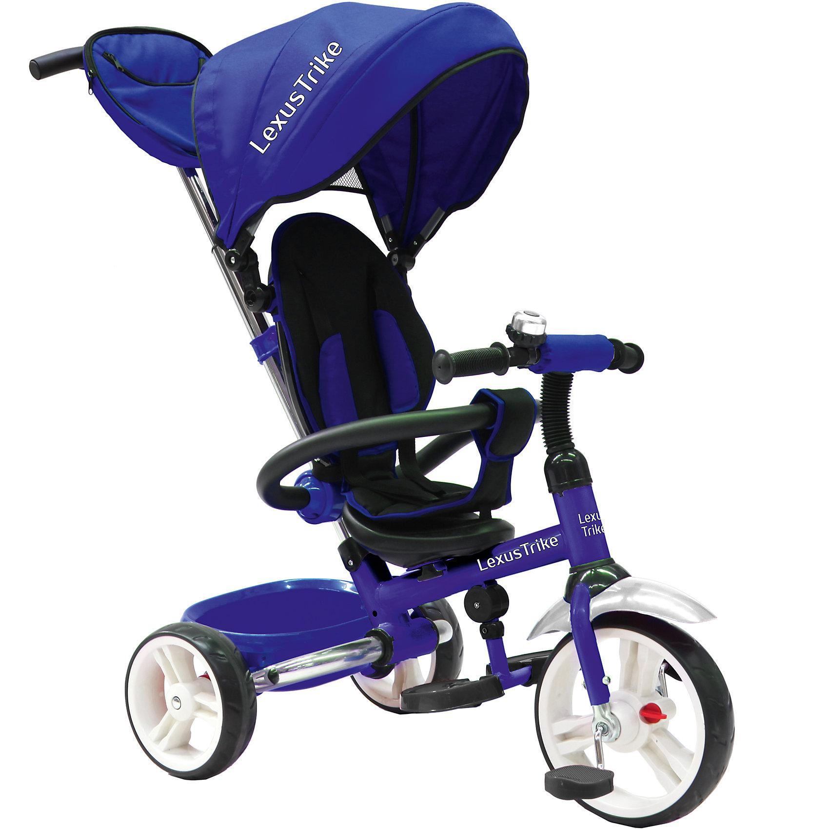 Трехколесный велосипед LD 3-в-1, с ручкой, Lexus Trike, синийДетский складной трехколесный велосипед Lexus Trike LD синего цвета 3 в 1 c ручкой управления.<br>- ПВХ колеса: передние 25 см (10) с функцией свободного хода, задние 20 см (8),<br>- складная задняя ось позволяет удобно транспортировать велосипед в багажнике автомобиля,<br>- телескопическая родительская ручка с мягкими рукоятками из пористой резины и сумочкой,<br>- широкая, обтянутая мягкой тканью, съемная спинка с регулируемым углом наклона (2 положения),<br>- складная подставкя для ног;<br>- складной и съемный тент колясочного типа,<br>- сидение с мягкой накладкой,<br>- пятиточечные ремни безопасности,<br>- стопоры задних колёс,<br>- поворотная рычаг-спица находится внутри рамы,<br>- раздвижная дуга безопасности с мягкими подлокотниками из пористой резины,<br>- пластиковая багажная корзина,<br>- звонок на руле,<br>- цветная коробка.<br><br>Ширина мм: 700<br>Глубина мм: 270<br>Высота мм: 440<br>Вес г: 11000<br>Возраст от месяцев: 12<br>Возраст до месяцев: 60<br>Пол: Унисекс<br>Возраст: Детский<br>SKU: 5422919