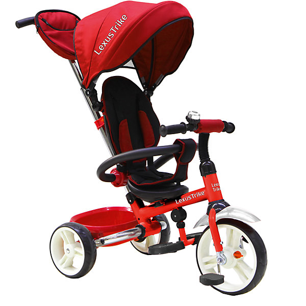 Трехколесный велосипед LD 3-в-1, с ручкой, Lexus Trike, красныйВелосипеды детские<br>Детский складной трехколесный велосипед Lexus Trike LD красного цвета 3 в 1 c ручкой управления.<br>- ПВХ колеса: передние 25 см (10) с функцией свободного хода, задние 20 см (8),<br>- складная задняя ось позволяет удобно транспортировать велосипед в багажнике автомобиля,<br>- телескопическая родительская ручка с мягкими рукоятками из пористой резины и сумочкой,<br>- широкая, обтянутая мягкой тканью, съемная спинка с регулируемым углом наклона (2 положения),<br>- складная подставкя для ног;<br>- складной и съемный тент колясочного типа,<br>- сидение с мягкой накладкой,<br>- пятиточечные ремни безопасности,<br>- стопоры задних колёс,<br>- поворотная рычаг-спица находится внутри рамы,<br>- раздвижная дуга безопасности с мягкими подлокотниками из пористой резины,<br>- пластиковая багажная корзина,<br>- звонок на руле,<br>- цветная коробка.<br><br>Ширина мм: 700<br>Глубина мм: 270<br>Высота мм: 440<br>Вес г: 11000<br>Возраст от месяцев: 12<br>Возраст до месяцев: 60<br>Пол: Унисекс<br>Возраст: Детский<br>SKU: 5422920