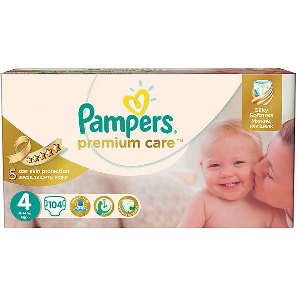 Подгузники Pampers Premium Care Maxi, 8-14 кг., 104 шт.Подгузники классические<br>Подгузники Pampers Premium Care Maxi (Памперс премиум кеа), 8-14 кг., 104 шт.<br><br>Характеристики:<br><br>• мягкие как шелк<br>• впитывающие каналы равномерно распределяют влагу<br>• удерживают влагу до 12 часов<br>• дышащие материалы обеспечивают правильную циркуляцию воздуха<br>• индикатор влаги подскажет, что нужно сменить подгузник<br>• эластичные боковинки защищают от протеканий<br>• состав бальзама: вазелин, стеариловый спирт, экстракт алоэ, жидкий вазелин/вазелиновое масло<br>• размер: 8-14 кг<br>• количество: 104 шт.<br>• размер упаковки: 20,2х11,5х16,4 см<br>• вес: 3267 грамм<br><br>Подгузники Pampers Premium Care подарят вашему малышу сухость и комфорт на всю ночь! Подгузники имеют три впитывающих канала, которые позволяют равномерно распределить влагу без образования комков. Специальный впитывающий слой быстро абсорбирует и удерживает влагу до 12 часов, позволяя избежать соприкосновения с кожей. Эластичные боковинки подгузников помогут предотвратить натирание на коже. Внешний слой позволяет коже ребёнка дышать всю ночь, обеспечивая правильную микроциркуляцию кожи. Подгузники имеют индикатор влаги, который напомнит вам о необходимости смены подгузника. Pampers Premium Care мягкие словно шёлк. В них кроха всегда будет готов к новым открытиям!<br><br>Подгузники Pampers Premium Care Maxi (Памперс премиум кеа), 8-14 кг., 104 шт. можно купить в нашем интернет-магазине.<br>Ширина мм: 164; Глубина мм: 115; Высота мм: 202; Вес г: 3267; Возраст от месяцев: 6; Возраст до месяцев: 36; Пол: Унисекс; Возраст: Детский; SKU: 5422940;