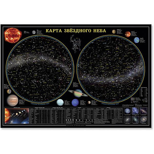 Настенная карта Звездное небо, планеты 101*69 см, ламинированнаяАтласы и карты<br>Характеристики товара:<br><br>• материал: ламинированная бумага<br>• размер карты: 101х69 см<br>• возраст: от 3 лет<br>• габариты упаковки: 101х69х0,1 см<br>• вес: 150 г<br>• страна производитель: Россия<br><br>Космос – завораживающая и многими любимая тема. Звездная карта отлично впишется в детскую комнату. Модель не только украсит стены, выполняя декоративную функцию, но и даст вашему ребенку новые знания о солнечной системе. На карте представлена основная информация о космосе, написанная доступным для ребенка языком. Материалы, использованные при изготовлении товаров, проходят проверку на качество и соответствие международным требованиям по безопасности.<br><br>Настенную карту Звездное небо, планеты 101*69 см, ламинированную можно купить в нашем интернет-магазине.<br><br>Ширина мм: 1010<br>Глубина мм: 690<br>Высота мм: 1<br>Вес г: 150<br>Возраст от месяцев: 36<br>Возраст до месяцев: 2147483647<br>Пол: Унисекс<br>Возраст: Детский<br>SKU: 5422942