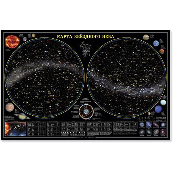 Настенная карта Звездное небо, планеты 124*80 см, ламинированнаяАтласы и карты<br>Характеристики товара:<br><br>• материал: ламинированная бумага<br>• размер карты: 124х80 см<br>• возраст: от 3 лет<br>• габариты упаковки: 124х80х0,1 см<br>• вес: 150 г<br>• страна производитель: Россия<br><br>Космос – завораживающая и многими любимая тема. Звездная карта отлично впишется в детскую комнату. Модель не только украсит стены, выполняя декоративную функцию, но и даст вашему ребенку новые знания о солнечной системе. На карте представлена основная информация о космосе, написанная доступным для ребенка языком. Материалы, использованные при изготовлении товаров, проходят проверку на качество и соответствие международным требованиям по безопасности.<br><br>Настенную карту Звездное небо, планеты 124*80 см, ламинированную можно купить в нашем интернет-магазине.<br>Ширина мм: 1240; Глубина мм: 800; Высота мм: 1; Вес г: 150; Возраст от месяцев: 36; Возраст до месяцев: 2147483647; Пол: Унисекс; Возраст: Детский; SKU: 5422943;