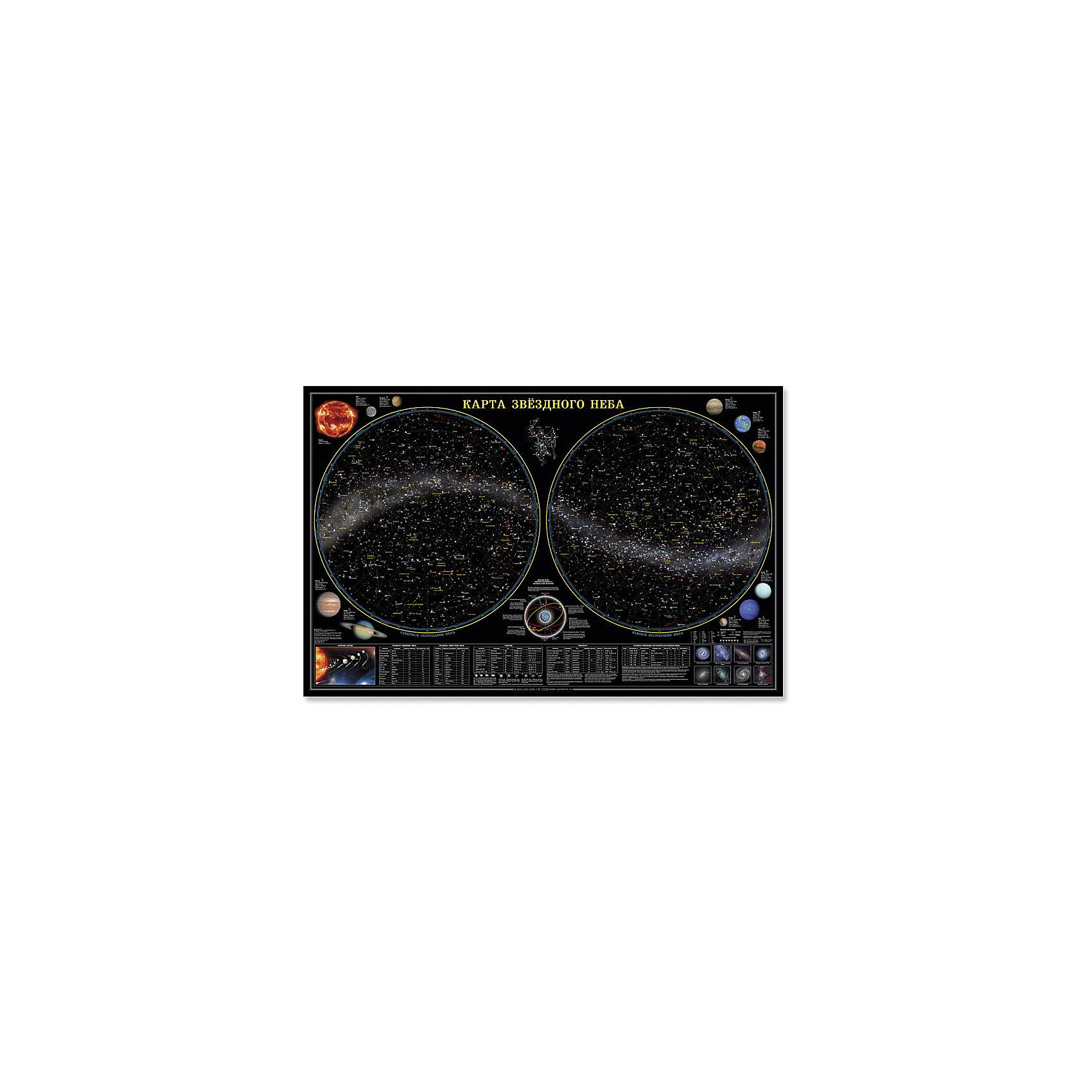 Настенная карта Звездное небо, планеты 124*80 см, ламинированнаяАтласы и карты<br>Характеристики товара:<br><br>• материал: ламинированная бумага<br>• размер карты: 124х80 см<br>• возраст: от 3 лет<br>• габариты упаковки: 124х80х0,1 см<br>• вес: 150 г<br>• страна производитель: Россия<br><br>Космос – завораживающая и многими любимая тема. Звездная карта отлично впишется в детскую комнату. Модель не только украсит стены, выполняя декоративную функцию, но и даст вашему ребенку новые знания о солнечной системе. На карте представлена основная информация о космосе, написанная доступным для ребенка языком. Материалы, использованные при изготовлении товаров, проходят проверку на качество и соответствие международным требованиям по безопасности.<br><br>Настенную карту Звездное небо, планеты 124*80 см, ламинированную можно купить в нашем интернет-магазине.<br><br>Ширина мм: 1240<br>Глубина мм: 800<br>Высота мм: 1<br>Вес г: 150<br>Возраст от месяцев: 36<br>Возраст до месяцев: 2147483647<br>Пол: Унисекс<br>Возраст: Детский<br>SKU: 5422943