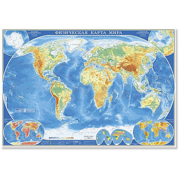 Настенная карта Мир Физический М1:21,5 млн, 107*157 см, ламинированнаяАтласы и карты<br>Характеристики товара:<br><br>• материал: ламинированная бумага<br>• возраст: от 3 лет<br>• габариты карты: 157х107х0,1 см<br>• вес: 250 г<br>• страна производитель: Россия<br><br>Физическая карта мира передает внешний облик суши и акваторий всей планеты в обзорном масштабе.  На карте подробно отражены рельеф и гидрография, а также пески, солончаки, болота, вулканы, коралловые рифы, материковые льды и вечные снега, шельфовые ледники. Показаны значимые населённые пункты.<br><br>Настенную карту Мир Физический М1:21,5 млн, 107*157 см, ламинированную можно купить в нашем интернет-магазине.<br><br>Ширина мм: 1570<br>Глубина мм: 1070<br>Высота мм: 1<br>Вес г: 250<br>Возраст от месяцев: 36<br>Возраст до месяцев: 2147483647<br>Пол: Унисекс<br>Возраст: Детский<br>SKU: 5422946