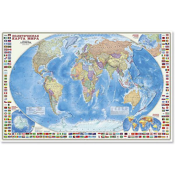 Настенная карта Мир Политический с флагами М1:24 млн, 124*80 смАтласы и карты<br>Характеристики товара:<br><br>• материал: высокопрочный картон<br>• покрытие: водонепроницаемый матовый лак<br>• возраст: от 3 лет<br>• габариты карты: 124х80х0,1 см<br>• вес: 150 г<br>• страна производитель: Россия<br><br>На политической карте мира подробно отражено современное политико-административное устройство мира, даны границы государств. Территории государств выделены цветом. Населённые пункты отображены по числу жителей и административному значению, показаны основные наземные пути сообщения и судоходные каналы. Особенность данной карты в том, что на ней, помимо геополитической информации, размещена символика государств мира. Государственные флаги стран мира сгруппированы по каждому континенту. Даны карты-врезки Северного и Южного Полярных регионов, а также карта плотности населения.<br><br>Настенную карту Мир Политический с флагами М1:24 млн, 124*80 см, можно купить в нашем интернет-магазине.<br><br>Ширина мм: 1240<br>Глубина мм: 800<br>Высота мм: 1<br>Вес г: 150<br>Возраст от месяцев: 36<br>Возраст до месяцев: 2147483647<br>Пол: Унисекс<br>Возраст: Детский<br>SKU: 5422947