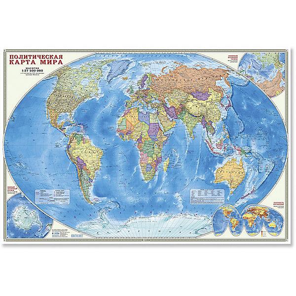 Настенная карта Мир Политический М1:27,5 млн, 101*69 см, ламинированнаяАтласы и карты<br>Характеристики товара:<br><br>• материал: ламинированная бумага<br>• возраст: от 3 лет<br>• габариты карты: 101х69х0,1 см<br>• вес: 150 г<br>• страна производитель: Россия<br><br>На политической карте мира подробно отражено современное политико-административное устройство мира, даны границы государств. Территории государств выделены цветом. Населённые пункты отображены по числу жителей и административному значению, показаны основные наземные пути сообщения и судоходные каналы. Особенность данной карты в том, что на ней, помимо геополитической информации, размещена символика государств мира. Государственные флаги стран мира сгруппированы по каждому континенту.<br><br>Настенную карту Мир Политический М1:27,5 млн, 101*69 см, можно купить в нашем интернет-магазине.<br><br>Ширина мм: 1010<br>Глубина мм: 690<br>Высота мм: 1<br>Вес г: 150<br>Возраст от месяцев: 36<br>Возраст до месяцев: 2147483647<br>Пол: Унисекс<br>Возраст: Детский<br>SKU: 5422948