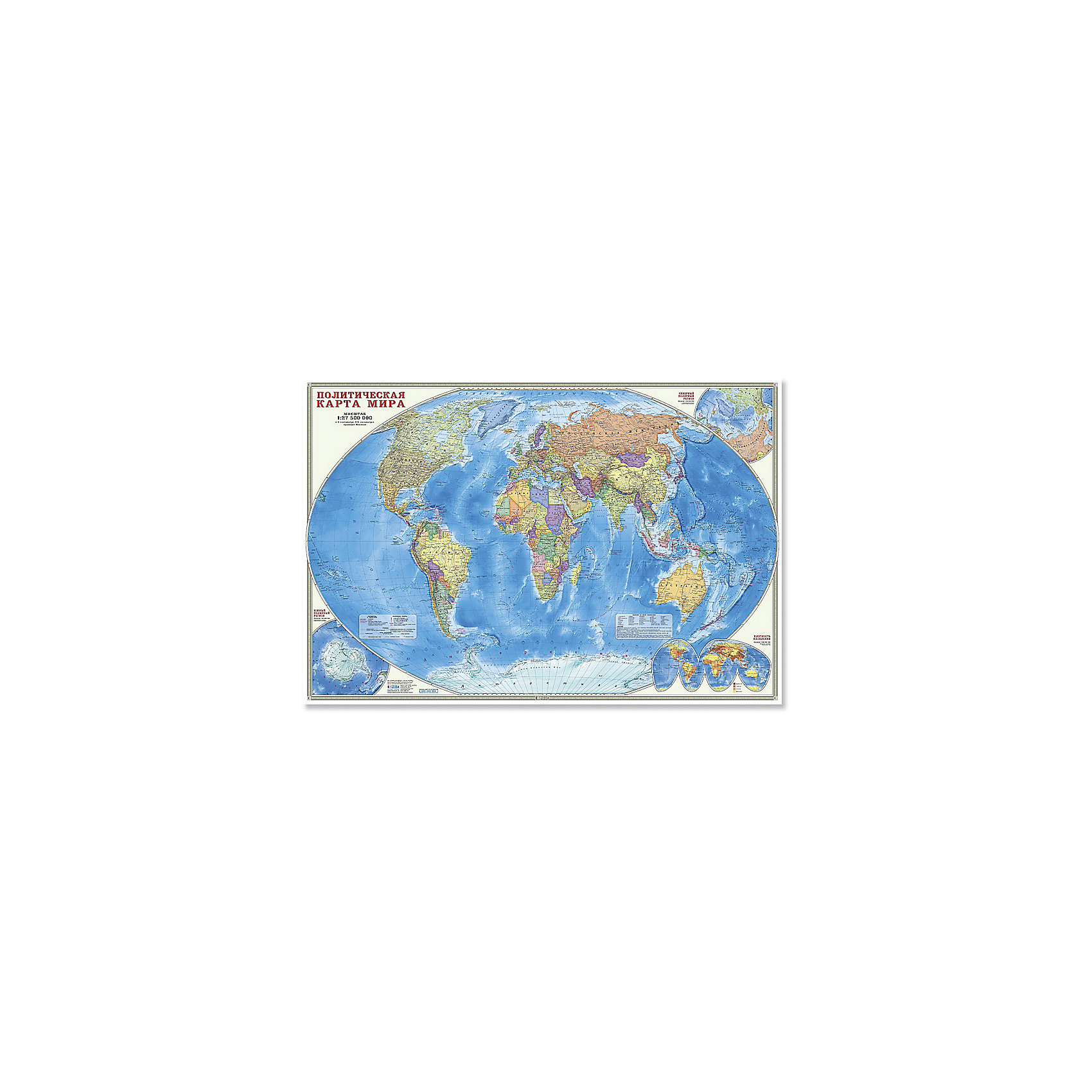 Настенная карта Мир Политический М1:27,5 млн, 101*69 см, ламинированнаяИздательство Геодом<br>Характеристики товара:<br><br>• материал: ламинированная бумага<br>• возраст: от 3 лет<br>• габариты карты: 101х69х0,1 см<br>• вес: 150 г<br>• страна производитель: Россия<br><br>На политической карте мира подробно отражено современное политико-административное устройство мира, даны границы государств. Территории государств выделены цветом. Населённые пункты отображены по числу жителей и административному значению, показаны основные наземные пути сообщения и судоходные каналы. Особенность данной карты в том, что на ней, помимо геополитической информации, размещена символика государств мира. Государственные флаги стран мира сгруппированы по каждому континенту.<br><br>Настенную карту Мир Политический М1:27,5 млн, 101*69 см, можно купить в нашем интернет-магазине.<br><br>Ширина мм: 1010<br>Глубина мм: 690<br>Высота мм: 1<br>Вес г: 150<br>Возраст от месяцев: 36<br>Возраст до месяцев: 2147483647<br>Пол: Унисекс<br>Возраст: Детский<br>SKU: 5422948