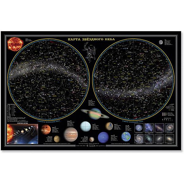 Настольная карта Звездное небо, планеты 58*38 см, ламинированнаяАтласы и карты<br>Характеристики товара:<br><br>• материал: ламинированная бумага<br>• возраст: от 3 лет<br>• габариты карты: 58х38х0,1 см<br>• вес: 100 г<br>• страна производитель: Россия<br><br>Звездное небо представлено в виде карт северного и южного полушарий (в азимутальной проекции) с изображением неподвижных или медленно изменяющихся объектов звёздного неба - звездами, туманностями, галактиками. Звезды отражены по спектральному классу.<br><br>На карте зведного также отражена Солнечная система - Солнце и обращающиеся вокруг него небесные тела – 8 планет. Для более точного представления звездного неба даны таблицы характеристик планет, галактик, туманностей, самых ярких звезд и других космических объектов.  Карта выполнена на плотной бумаге с капсульной ламинацией.<br><br>Настольная карта Звездное небо, планеты 58*38 см, ламинированную можно купить в нашем интернет-магазине.<br>Ширина мм: 580; Глубина мм: 380; Высота мм: 1; Вес г: 100; Возраст от месяцев: 36; Возраст до месяцев: 2147483647; Пол: Унисекс; Возраст: Детский; SKU: 5422951;