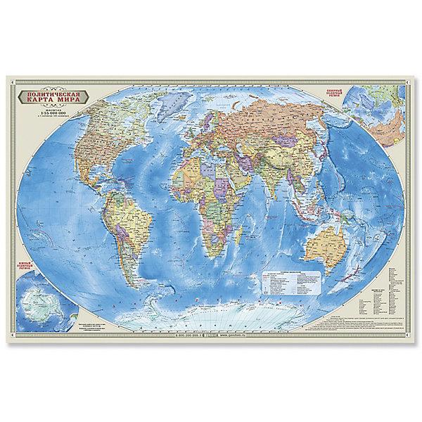 Настольная карта Мир Политический М1:55 млн, 58*38 см, ламинированнаяАтласы и карты<br>Характеристики товара:<br><br>• материал: ламинированный картон<br>• возраст: от 6 лет<br>• габариты упаковки: 58х38х1 см<br>• размер карты: 58х38 см<br>• вес: 100 г<br>• страна производитель: Россия<br><br>Карта политического мира подробно отражает современное политико-административное устройство мира и границы государств. Территории государств выделены цветом. Населённые пункты отображены по числу жителей и административному значению, показаны основные наземные пути сообщения и судоходные каналы. Особенность данной карты в том, что на ней, помимо геополитической информации, размещена символика государств мира. Государственные флаги стран мира сгруппированы по каждому континенту.<br><br>Карту-пазл Мир политический М1:55 млн, 58*38 см, можно купить в нашем интернет-магазине.<br><br>Ширина мм: 580<br>Глубина мм: 380<br>Высота мм: 1<br>Вес г: 100<br>Возраст от месяцев: 36<br>Возраст до месяцев: 2147483647<br>Пол: Унисекс<br>Возраст: Детский<br>SKU: 5422952