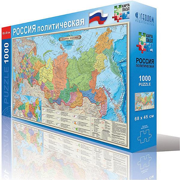 Карта-пазл Россия политическая 45*68 см, М 1:12 млн, 1000 деталейПазлы для детей постарше<br>Характеристики товара:<br><br>• материал: ламинированный картон<br>• возраст: от 6 лет<br>• количество деталей: 260<br>• габариты упаковки: 23х6х35 см<br>• размер карты: 33х47 см<br>• вес: 250 г<br>• страна производитель: Россия<br><br>Ваш ребенок в процессе игры с большим интересом изучит политико-административное устройство государства, границы федеральных округов и субъектов и основные крупные города. Узнает какими водами омывается и с какими государствами граничит наша Родина. Дана новая карта часовых поясов России.Это отличный метод познакомиться с особенностями географии уже с малого возраста. Играя, ребенок развивает воображение, пространственное мышление, внимание, память и способность анализировать!<br><br>Карту-пазл Россия политическая 33*47 см, М 1:14,5 млн, 260 деталей, можно купить в нашем интернет-магазине.<br><br>Ширина мм: 345<br>Глубина мм: 229<br>Высота мм: 52<br>Вес г: 445<br>Возраст от месяцев: 72<br>Возраст до месяцев: 108<br>Пол: Унисекс<br>Возраст: Детский<br>SKU: 5422959