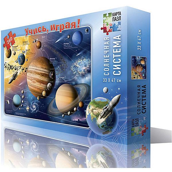 Карта-пазл Солнечная система 33*47 см, 260 деталейПазлы классические<br>Характеристики товара:<br><br>• материал: ламинированный картон<br>• возраст: от 6 лет<br>• количество деталей: 260<br>• габариты упаковки: 29х19х4 см<br>• размер карты: 33х47 см<br>• вес: 250 г<br>• страна производитель: Россия<br><br>Учись, играя! Данное обучающее пособия позволяет в процессе интересной игры легко изучить и познать солнечную систему! Окрестности Солнца - захватывающее место. Солнечная система полна планет, спутников, астероидов, комет, малых планет и многих других интересных объектов. Играя, ребенок развивает воображение, пространственное мышление, внимание, память и способность анализировать!<br><br>Карту-пазл Солнечная система 33*47 см, 260 деталей, можно купить в нашем интернет-магазине.<br><br>Ширина мм: 290<br>Глубина мм: 190<br>Высота мм: 35<br>Вес г: 250<br>Возраст от месяцев: 72<br>Возраст до месяцев: 108<br>Пол: Унисекс<br>Возраст: Детский<br>SKU: 5422960