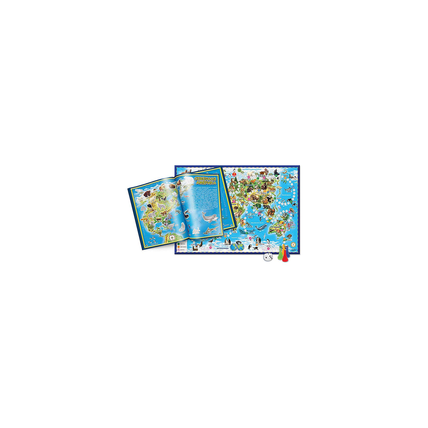 Подарок №7 Животный мир Земли (2 предмета)Книги для развития мышления<br>Характеристики товара:<br><br>• материал: ламинированный картон, бумага<br>• возраст: от 6 лет<br>• атлас мира с наклейками. Животные и растения. Формат 21*29,7<br>• настольная игра ходилка. Животный мир земли. Формат 59*42<br>• подарочная коробка<br>• 70 наклеек<br>• габариты упаковки: 30х22,5х1 см<br>• вес: 290 г<br>• страна производитель: Россия<br><br>Настольная игра-ходилка «Животный мир земли» (смотреть правила) создана на картографической основе. В доступной и интересной форме представлено расположение материков и океанов, показаны представители флоры и фауны. Бесспорное преимущество игры и в ее оформлении – художественно выполненная, красочная, на качественном картоне – прослужит долго и поможет организовать досуг.<br><br>Атлас с наклейками «Животные и растения» можно использовать как первое учебное пособие по географии и окружающему миру, поскольку он содержит не только более подробные сведения о животных и растениях, но и о континентах. Прекрасно оформленный, он воспитывает эстетический вкус, интерес к живой природе, формирует целостную картину мира.<br><br>Каждый разворот содержит карту определенного континента, на которой изображены обитатели Земли и так же даны черно-белые контуры рисунка, который нужно найти во вкладке с наклейками и наклеить. Из вкладки с наклейками ребенок выбирает соответствующее изображение, приклеивает в атлас, таким образом запоминая ареалы распространения животных, растений и морских обитателей. Кроссворд, который над на первой странице, поможет закрепить знания.<br><br>Подарок №7 Животный мир Земли (2 предмета) можно купить в нашем интернет-магазине.<br><br>Ширина мм: 300<br>Глубина мм: 225<br>Высота мм: 10<br>Вес г: 290<br>Возраст от месяцев: 72<br>Возраст до месяцев: 108<br>Пол: Унисекс<br>Возраст: Детский<br>SKU: 5422970
