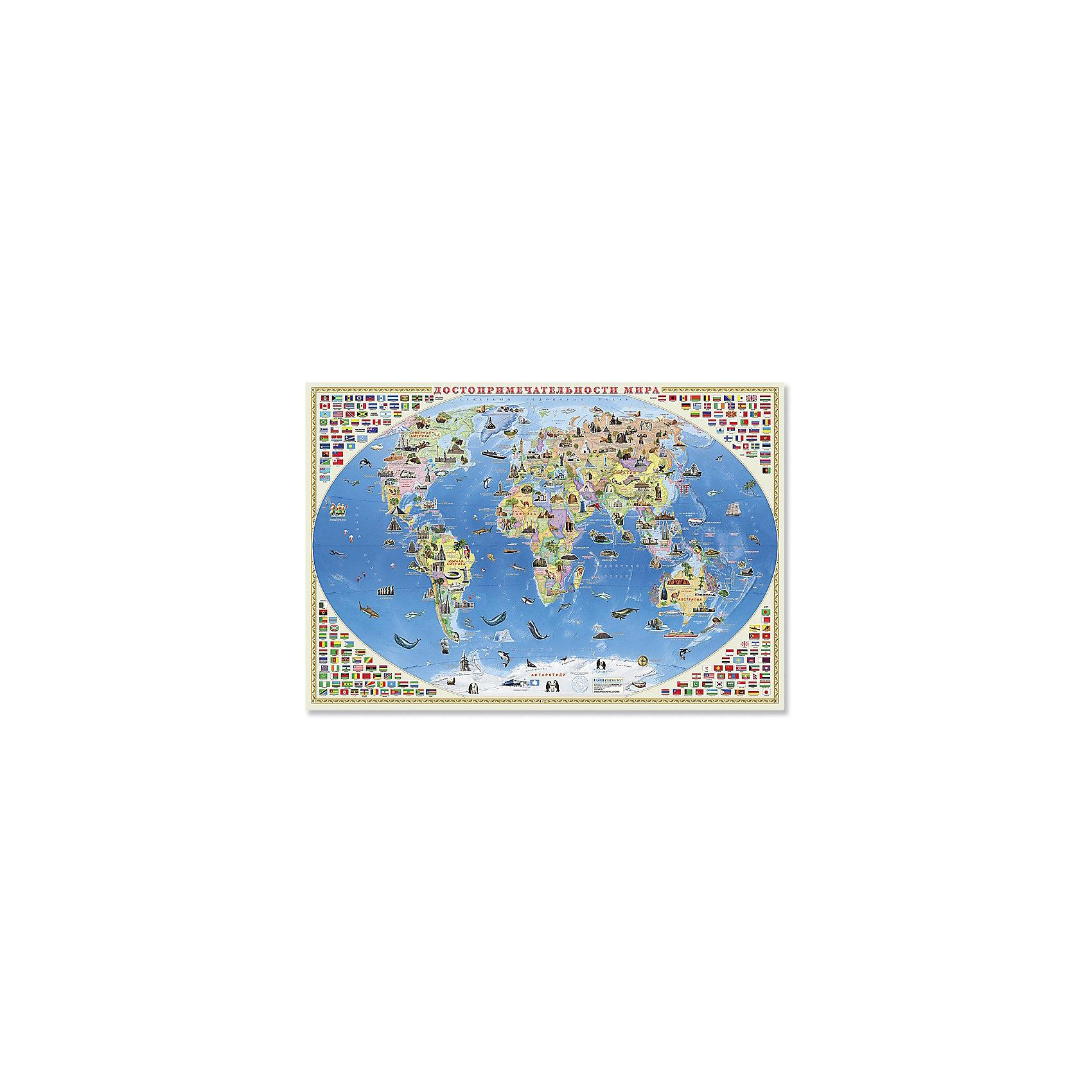 Настенная карта Достопримечательности мира 101*69 см, ламинированнаяПлакаты и карты<br>Как посмотреть все самые красивые и необычные достопримечательности из разных уголков мира не выходя из дома? С настенной картой «Достопримечательности мира» от издательства «ГЕОДОМ» вы сможете познакомиться с культурным и историческим наследием разных стран, изучить их государственные флаги. На карте также показаны представители животного мира, которые обитают на континентах нашей планеты.<br><br>Ширина мм: 1010<br>Глубина мм: 690<br>Высота мм: 1<br>Вес г: 150<br>Возраст от месяцев: 36<br>Возраст до месяцев: 2147483647<br>Пол: Унисекс<br>Возраст: Детский<br>SKU: 5422997