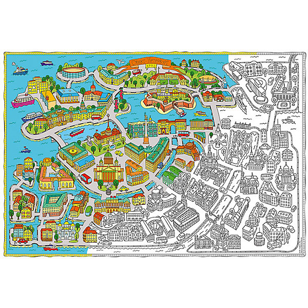 Карта-Раскраска Санкт-Петербург 101*69 смРаскраски по номерам<br>Карта-Раскраска Санкт-Петербург 101*69 см<br><br>Характеристики:<br><br>• В набор входит: раскраска в коробке<br>• Размер раскраски: 101 * 69 см.<br>• Состав: бумага, картон<br>• Вес: 110 г.<br>• Для детей в возрасте: от 6 до 12 лет<br>• Страна производитель: Россия<br><br>Благодаря значительному разнообразию строений, растительности и транспорта ребёнок может полностью использовать своё воображение и подбирать цвета как ему будет угодно. Особенно интересно будет раскрашивать картинки карандашами или фломастерами с большим количеством оттенков, хотя, как показано на образце, можно и ограничиться стандартным набором из 12ти цветов. Играя с раскрасками дети развивают моторику рук и готовят руку к письму, развивая творческие способности, учась подбирать цветовую гамму. Дети запоминают формы, учатся как правильно рисовать те или иные вещи, улучшают внимание и концентрацию.<br><br>Карту-Раскраску Санкт-Петербург 101*69 см. можно купить в нашем интернет-магазине.<br>Ширина мм: 1010; Глубина мм: 690; Высота мм: 1; Вес г: 110; Возраст от месяцев: 72; Возраст до месяцев: 108; Пол: Унисекс; Возраст: Детский; SKU: 5423009;