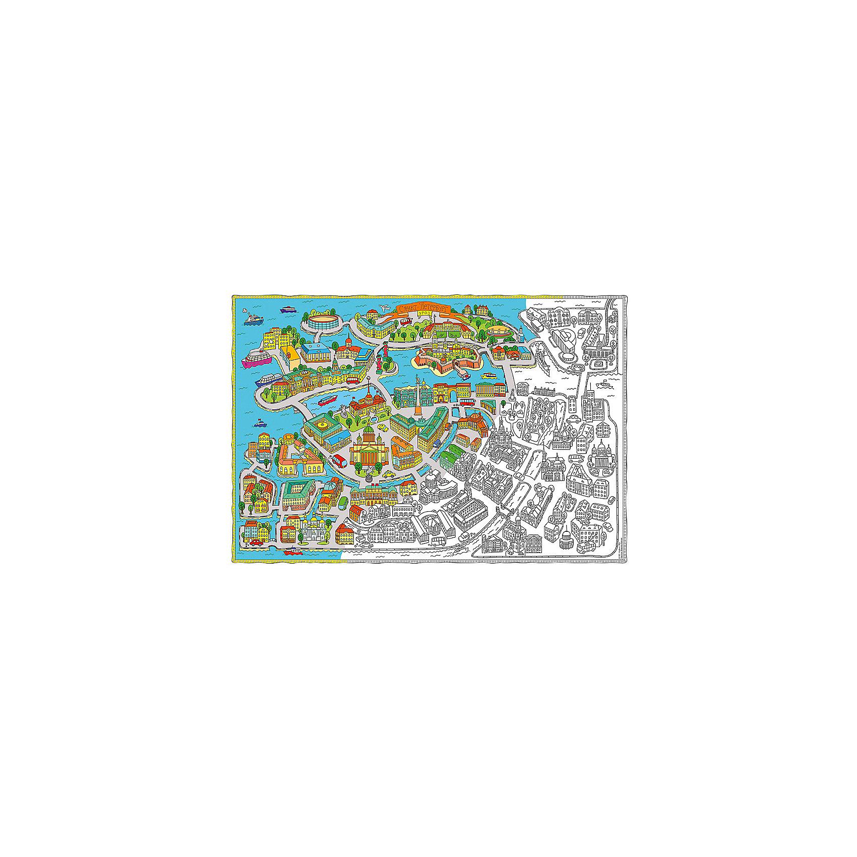 Карта-Раскраска Санкт-Петербург 101*69 смРисование<br>Карта-Раскраска Санкт-Петербург 101*69 см<br><br>Характеристики:<br><br>• В набор входит: раскраска в коробке<br>• Размер раскраски: 101 * 69 см.<br>• Состав: бумага, картон<br>• Вес: 110 г.<br>• Для детей в возрасте: от 6 до 12 лет<br>• Страна производитель: Россия<br><br>Благодаря значительному разнообразию строений, растительности и транспорта ребёнок может полностью использовать своё воображение и подбирать цвета как ему будет угодно. Особенно интересно будет раскрашивать картинки карандашами или фломастерами с большим количеством оттенков, хотя, как показано на образце, можно и ограничиться стандартным набором из 12ти цветов. Играя с раскрасками дети развивают моторику рук и готовят руку к письму, развивая творческие способности, учась подбирать цветовую гамму. Дети запоминают формы, учатся как правильно рисовать те или иные вещи, улучшают внимание и концентрацию.<br><br>Карту-Раскраску Санкт-Петербург 101*69 см. можно купить в нашем интернет-магазине.<br><br>Ширина мм: 1010<br>Глубина мм: 690<br>Высота мм: 1<br>Вес г: 110<br>Возраст от месяцев: 72<br>Возраст до месяцев: 108<br>Пол: Унисекс<br>Возраст: Детский<br>SKU: 5423009