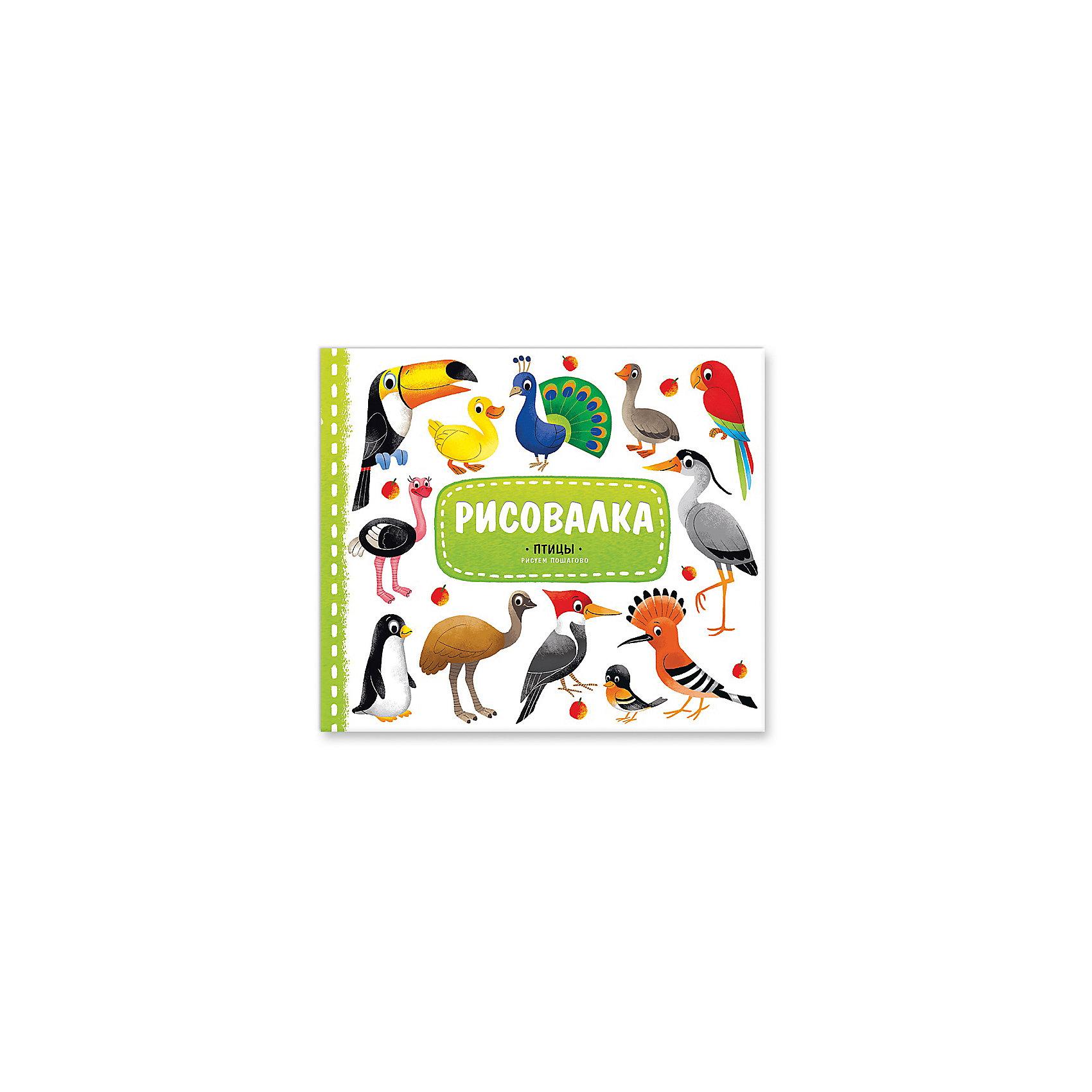 Рисовалка ПтицыХотите научить детей рисовать  диковинных птиц? Поверьте, это не так уж сложно. Главное, шаг за шагом следовать советам, которые вы найдете в книжке серии «РИСОВАЛКА». Всего 5 шагов и рисунок готов!<br>А на последней странице книжки ребёнок сможет создать свою картину, расклеив 7 ярких наклеек с изображением изумительных птиц.<br>Рисовать – это очень увлекательно!<br><br>Ширина мм: 225<br>Глубина мм: 220<br>Высота мм: 3<br>Вес г: 100<br>Возраст от месяцев: 36<br>Возраст до месяцев: 84<br>Пол: Унисекс<br>Возраст: Детский<br>SKU: 5423020