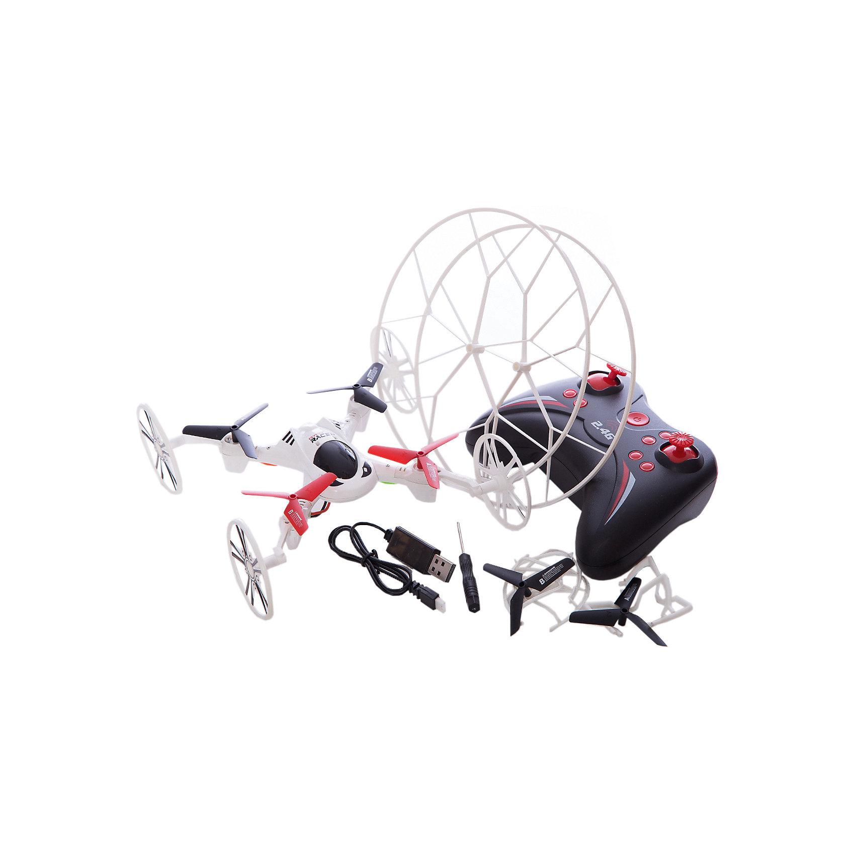Квадрокоптер 2-в-1 GYRO-Racer, 1toyКвадрокоптер размером 16*16см,<br>управляется на частоте 2,4GHz, <br>имеет два скоростных<br>режима, отлично летает как <br>дома, так и на улице.<br>В комплект входят запасные колёса, которые легко устанавливаются на корпус квадрокоптера, превращая его в модель, передвигающуюся по земле. <br>Также квадрокоптер имеет режим Автоматического возвращения в сторону пилота и Программируемый план полёта.<br><br>Ширина мм: 410<br>Глубина мм: 75<br>Высота мм: 270<br>Вес г: 611<br>Возраст от месяцев: 72<br>Возраст до месяцев: 192<br>Пол: Мужской<br>Возраст: Детский<br>SKU: 5423272