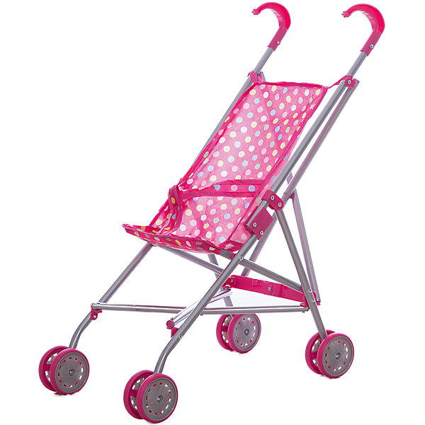Коляска-трость для кукол, розовая в горошек,MeloboТранспорт и коляски для кукол<br><br>Ширина мм: 650; Глубина мм: 90; Высота мм: 110; Вес г: 600; Возраст от месяцев: 48; Возраст до месяцев: 2147483647; Пол: Женский; Возраст: Детский; SKU: 5425236;