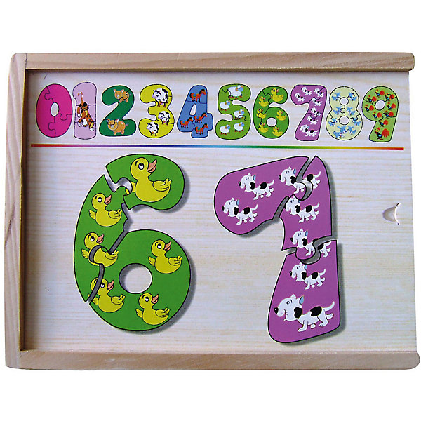Набор цифры-пазлы (1-9 маленькие), СТЕЛЛА+Касса цифр<br>Набор цифры-пазлы (1-9 маленькие), СТЕЛЛА+.<br><br>Характеристики:<br><br>• В наборе: 10 цифр, состоящих из 3-х частей<br>• Материал: дерево<br>• Упаковка: деревянная коробка<br>• Размер коробки: 19х14х4 см.<br><br>Набор цифры-пазлы от 1 до 9 (маленькие) представляет собой набор разноцветных деревянных цифр от 0 до 9 на тему животные. Каждая цифра состоит из трех частей и собирается по принципу пазла. Набор поможет ребенку выучить цифры, научит составлять целое из частей.<br><br>Набор цифры-пазлы (1-9 маленькие), СТЕЛЛА+ можно купить в нашем интернет-магазине.<br><br>Ширина мм: 190<br>Глубина мм: 140<br>Высота мм: 40<br>Вес г: 800<br>Возраст от месяцев: 36<br>Возраст до месяцев: 60<br>Пол: Унисекс<br>Возраст: Детский<br>SKU: 5426427