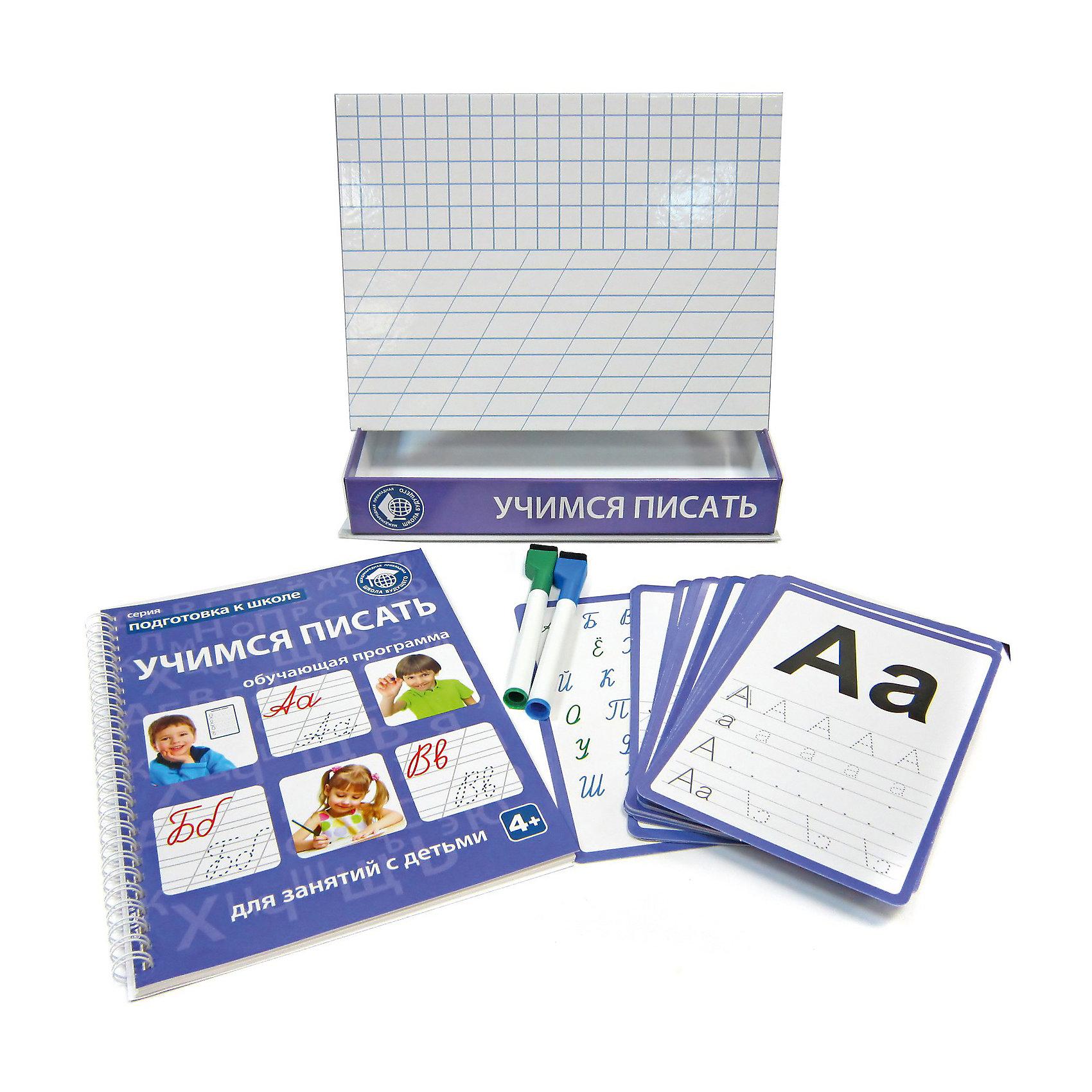 Обучающий набор «Учимся писать: от линии к букве»Прописи<br>Обучающий набор «УЧИМСЯ ПИСАТЬ: от линии к букве» - необходимая вещь при подготовке к школе. В наборе вы найдете красочные обучающие карточки, современные прописи, специальные маркеры «пиши-стирай», а также магнитную доску для занятий. Обучающая программа включает в себя огромное количество упражнений, которые помогут развить моторику и концентрацию внимания. Ребенок научится обводить по контуру буквы, проводить прямые линии, рисовать по клеточкам и точкам, дорисовывать недостающие части рисунка и многое другое.<br>В комплект входит: 1  доска для занятий, 40 обучающих карточек, 2  маркера «пиши-стирай», обучающая программа (книжка для родителей).<br>Набор продается в картонной коробке. Ее размер: 20,3х26,5х4,5 см.<br>Рекомендуется детям старше 4 лет.<br><br>Ширина мм: 265<br>Глубина мм: 45<br>Высота мм: 203<br>Вес г: 954<br>Возраст от месяцев: 36<br>Возраст до месяцев: 72<br>Пол: Унисекс<br>Возраст: Детский<br>SKU: 5426453
