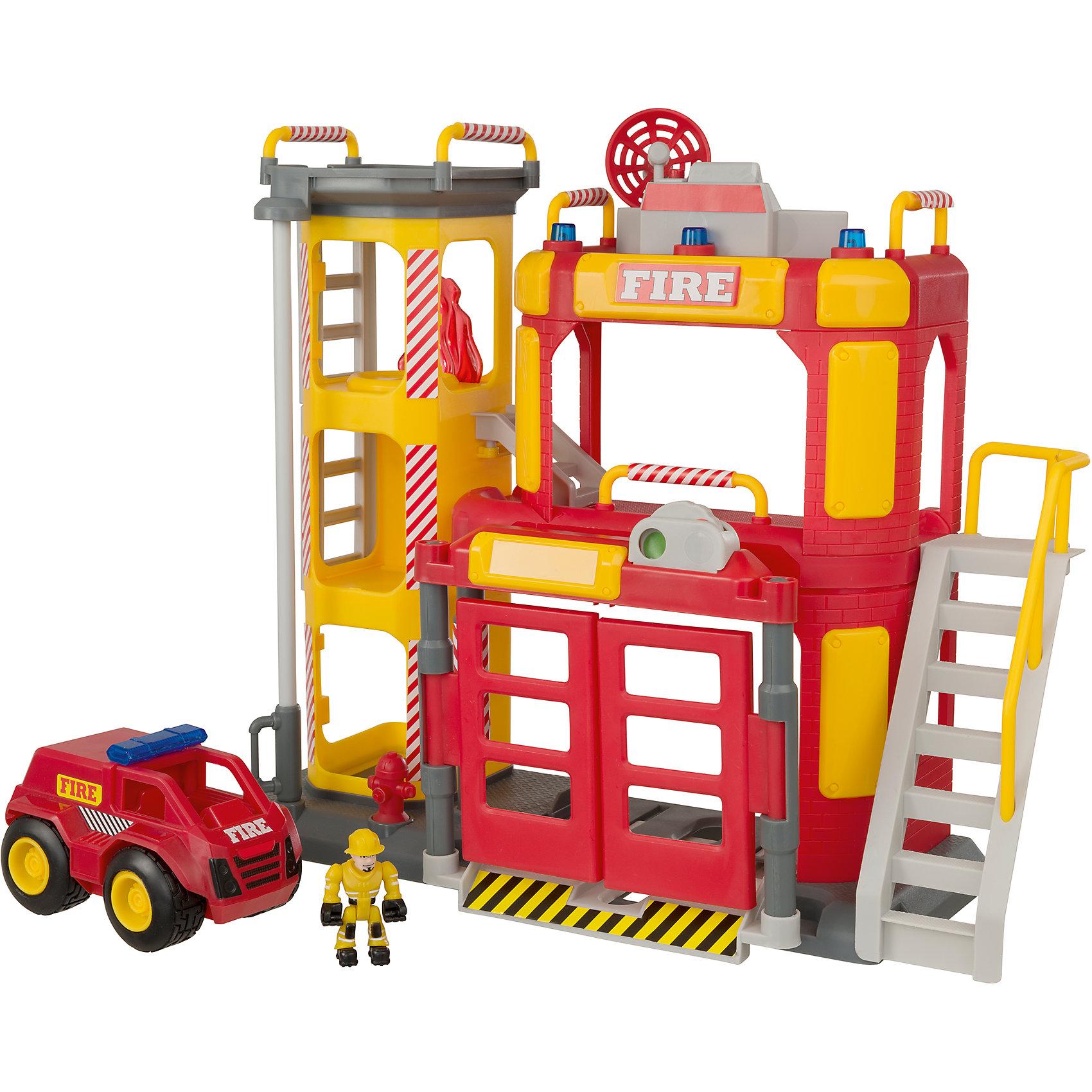 Большая пожарная станция, TeamsterzСо световыми и звуковыми эффектами.<br>В комплект входит: пожарное депо, пожарная машина, 2 пожарных.<br>Высота станции: 38 см..<br>Работает от 3-х батареек типа ААА (В комплект не входят). <br>Изготовлено из полимерного материала с элементами из металла<br><br>Ширина мм: 545<br>Глубина мм: 399<br>Высота мм: 151<br>Вес г: 1772<br>Возраст от месяцев: 36<br>Возраст до месяцев: 168<br>Пол: Мужской<br>Возраст: Детский<br>SKU: 5427396