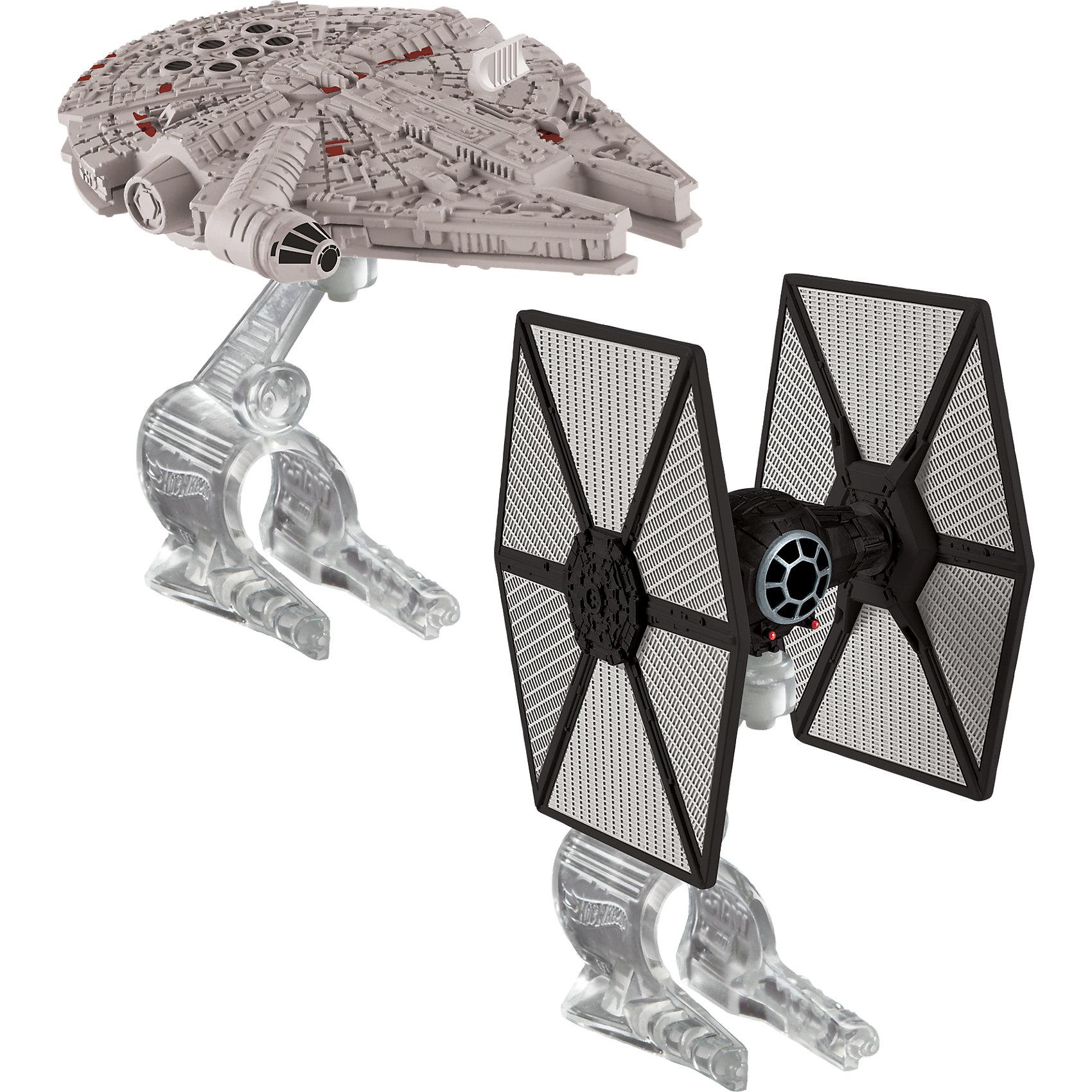 Набор из 2-х Звездных кораблей Star Wars, Hot WheelsИгровые наборы<br>Характеристики товара:<br><br>• материал: пластик<br>• комплектация: два корабля, подставка<br>• хорошая детализация<br>• совместимы с игровыми наборами Hot Wheels Star Wars<br>• возраст: от 4 лет<br>• размер упаковки: 30х6х16,5 см<br>• упаковка: блистер на картоне<br>• страна бренда: США<br><br>Фильм Звездные войны обожает множество современных мальчишек. Сделать ребенку желанный подарок легко - приобретите такой набор Star Wars от бренда Hot Wheels! В него входят два космических корабля с подставкой. Её можно надеть на палец - и тогда корабль с помощью своего маленького владельца легко поднимется в воздух.<br><br>Эти игрушки от Mattel отлично проработаны. Они отличаются безопасными материалами и высокой степенью детализации. С таким набором можно придумать множество игр! Параллельно ребенок будет развивать фантазию, пространственное мышление и мелкую моторику.<br><br>Набор из 2-х Звездных кораблей Star Wars, Hot Wheels, от компании Mattel можно купить в нашем интернет-магазине.<br><br>Ширина мм: 309<br>Глубина мм: 182<br>Высота мм: 78<br>Вес г: 182<br>Возраст от месяцев: 48<br>Возраст до месяцев: 108<br>Пол: Мужской<br>Возраст: Детский<br>SKU: 5427578