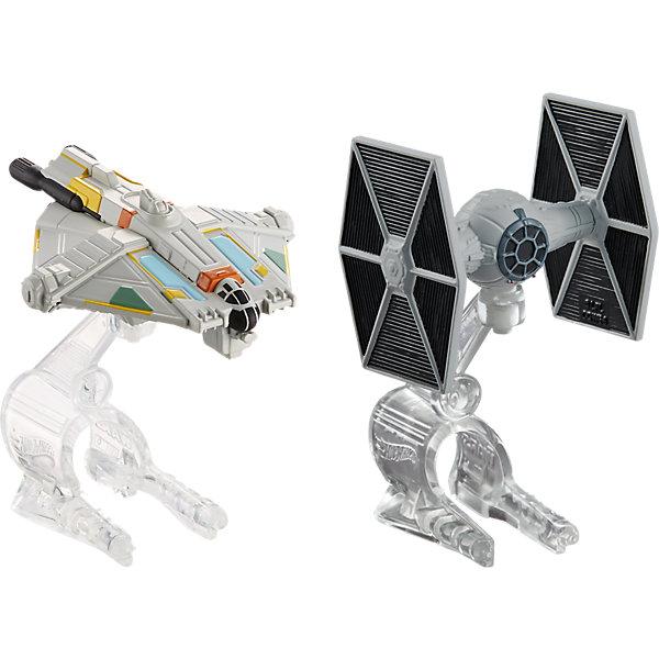 Набор из 2-х Звездных кораблей Star Wars, Hot WheelsЗвездные войны Игрушки<br>Характеристики товара:<br><br>• материал: пластик<br>• комплектация: два корабля, подставка<br>• хорошая детализация<br>• совместимы с игровыми наборами Hot Wheels Star Wars<br>• возраст: от 4 лет<br>• размер упаковки: 30 х 6 х 16,5 см<br>• упаковка: блистер на картоне<br>• страна бренда: США<br><br>Фильм Звездные войны обожает множество современных мальчишек. Сделать ребенку желанный подарок легко - приобретите такой набор Star Wars от бренда Hot Wheels! В него входят два космических корабля с подставкой. Её можно надеть на палец - и тогда корабль с помощью своего маленького владельца легко поднимется в воздух.<br><br>Эти игрушки от Mattel отлично проработаны. Они отличаются безопасными материалами и высокой степенью детализации. С таким набором можно придумать множество игр! Параллельно ребенок будет развивать фантазию, пространственное мышление и мелкую моторику.<br><br>Набор из 2-х Звездных кораблей Star Wars, Hot Wheels, от компании Mattel можно купить в нашем интернет-магазине.<br><br>Ширина мм: 309<br>Глубина мм: 182<br>Высота мм: 78<br>Вес г: 182<br>Возраст от месяцев: 48<br>Возраст до месяцев: 108<br>Пол: Мужской<br>Возраст: Детский<br>SKU: 5427580