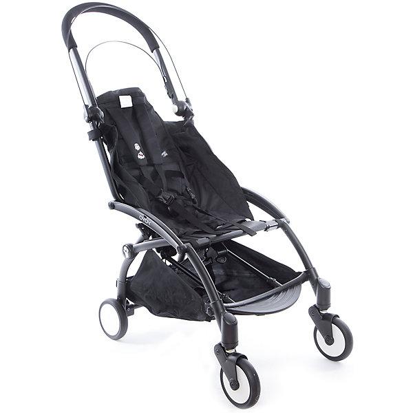 Прогулочная коляска Babyzen YOYO на черной рамеПрогулочные коляски<br>Характеристики коляски Babyzen YOYO:<br><br>• легкая и компактная, маневренная и удобная;<br>• коляска складывается одной рукой;<br>• прогулочный блок оснащен 5-ти точечными ремнями безопасности, регулируемые по длине и высоте;<br>• регулируемый наклон спинки: 3 положения, угол наклона 160 градусов;<br>• капюшон оснащен смотровым окошком;<br>• капюшон можно полностью опустить за прогулочное сиденье;<br>• чехлы прогулочного блока съемные, их можно стирать при температуре 30 градусов;<br>• колеса имеют независимую подвеску;<br>• передние поворотные колеса с антивибрационной системой: колеса не нужно блокировать вручную;<br>• ножной тормоз, педаль на задней оси коляски, блокировка сразу двух задних колес;<br>• коляска складывается по типу «книжка», устойчива в вертикальном положении в сложенном виде, имеется фиксатор от случайного раскладывания;<br>• в сложенном виде рама коляски оснащена ремешком с мягкой накладкой, чтобы сложенную коляску удобно было переносить на плече;<br>• коляска раскладывается одной рукой: мамочка может и ребенка держать на руках, и коляску разложить без особых трудностей;<br>• материал: алюминий, пластик, полиэстер, полиуретан;<br>• диаметр колес: 13 см<br><br>Компактная коляска помещается в отделении ручной клади в самолете, между сиденьями в поезде или в машине. Коляска с ремешком для переноски на плече позволяет пройтись с малышом по магазинам, устроиться в уютном кафе. Коляска маневренна, с функцией «плавный ход», простая в использовании. <br><br>Размер коляски: 44х86х106 см<br>Размер коляски в сложенном виде: 52x44x18 см<br>Вес коляски: 5,9 кг<br>Вес в упаковке: 7,4 кг<br><br>Комплектация:<br><br>• прогулочная коляска YOYO;<br>• дождевик;<br>• 2 дуги для капюшона;<br>• корзина для покупок;<br>• ремешок с подкладкой для плеча<br>• сумка для транспортировки коляски в сложенном виде;<br>• инструкция. <br><br>Прогулочную коляску YOYO на черной раме, Babyzen можно купить в на