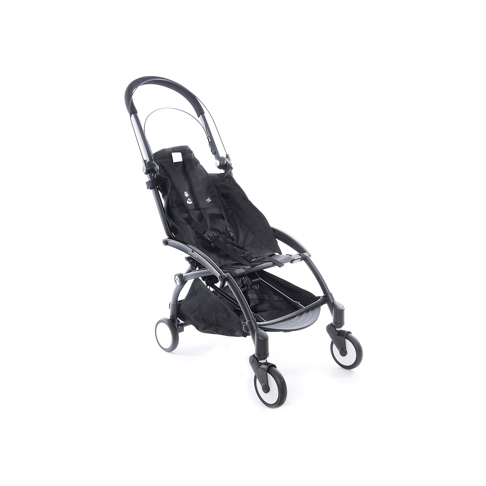 Прогулочная коляска Babyzen YOYO на черной раме,Прогулочные коляски<br>Характеристики коляски Babyzen YOYO:<br><br>• легкая и компактная, маневренная и удобная;<br>• коляска складывается одной рукой;<br>• прогулочный блок оснащен 5-ти точечными ремнями безопасности, регулируемые по длине и высоте;<br>• регулируемый наклон спинки: 3 положения, угол наклона 160 градусов;<br>• капюшон оснащен смотровым окошком;<br>• капюшон можно полностью опустить за прогулочное сиденье;<br>• чехлы прогулочного блока съемные, их можно стирать при температуре 30 градусов;<br>• колеса имеют независимую подвеску;<br>• передние поворотные колеса с антивибрационной системой: колеса не нужно блокировать вручную;<br>• ножной тормоз, педаль на задней оси коляски, блокировка сразу двух задних колес;<br>• коляска складывается по типу «книжка», устойчива в вертикальном положении в сложенном виде, имеется фиксатор от случайного раскладывания;<br>• в сложенном виде рама коляски оснащена ремешком с мягкой накладкой, чтобы сложенную коляску удобно было переносить на плече;<br>• коляска раскладывается одной рукой: мамочка может и ребенка держать на руках, и коляску разложить без особых трудностей;<br>• материал: алюминий, пластик, полиэстер, полиуретан;<br>• диаметр колес: 13 см<br><br>Компактная коляска помещается в отделении ручной клади в самолете, между сиденьями в поезде или в машине. Коляска с ремешком для переноски на плече позволяет пройтись с малышом по магазинам, устроиться в уютном кафе. Коляска маневренна, с функцией «плавный ход», простая в использовании. <br><br>Размер коляски: 44х86х106 см<br>Размер коляски в сложенном виде: 52x44x18 см<br>Вес коляски: 5,9 кг<br>Вес в упаковке: 7,4 кг<br><br>Комплектация:<br><br>• прогулочная коляска YOYO;<br>• дождевик;<br>• 2 дуги для капюшона;<br>• корзина для покупок;<br>• ремешок с подкладкой для плеча<br>• сумка для транспортировки коляски в сложенном виде;<br>• инструкция. <br><br>Прогулочную коляску YOYO на черной раме, Babyzen можно купить в н