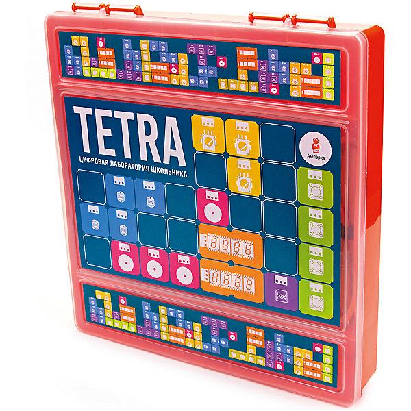 Набор Tetra, АмперкаНаборы для робототехники<br>Набор Tetra, Амперка.<br><br>Характеристики:<br><br>• Комплектация: материнская плата Tetra, светодиод красный «Пиранья» (Troyka-модуль) 2 шт, светодиод желтый «Пиранья» (Troyka-модуль) 2 шт, светодиод зеленый «Пиранья» (Troyka-модуль) 2 шт, кнопка (Troyka-модуль) 2 шт, зуммер (Troyka-модуль), аналоговый термометр (Troyka-модуль), датчик освещённости (Troyka-модуль), датчик Холла (Troyka-модуль), ИК-приёмник (Troyka-модуль), потенциометр (Troyka-модуль), микросервопривод FS90, кабель USB (A — B), книга<br>• Упаковка: пластиковая коробка<br>• Размер упаковки: 26х24х15 см.<br><br>Хотите научить ребёнка основам программирования, но понимаете, что скучные книги могут навсегда отбить его интерес к этой теме? Набор «Tetra» — отличное решение для начала увлекательных экспериментов, которые не оставят ребёнка равнодушным и станут первым шагом в освоении этой науки. Набор состоит из материнской платы Tetra, комплекта электронных модулей и книги с экспериментами. Книга в наборе подробно рассказывает, как работать с платой и средой программирования. Эксперименты и программы идут от простых к более сложным. <br><br>Всего в книге — 96 заданий, включая эксперименты для самостоятельного выполнения и идеи для собственных проектов. Желаемое поведение устройства описывают с помощью визуального языка программирования Scratch (Скретч), который специально создан для изучения детьми основ программирования. Плата Tetra — это настоящий маленький компьютер. Можно подключить Tetra к своему компьютеру через обычный USB-кабель, а затем запрограммировать её на выполнение задуманного алгоритма, и тем самым создать собственное электронное устройство.<br><br>Набор Tetra, Амперка можно купить в нашем интернет-магазине.<br><br>Ширина мм: 260<br>Глубина мм: 240<br>Высота мм: 15<br>Вес г: 1609<br>Возраст от месяцев: 168<br>Возраст до месяцев: 108<br>Пол: Унисекс<br>Возраст: Детский<br>SKU: 5427689
