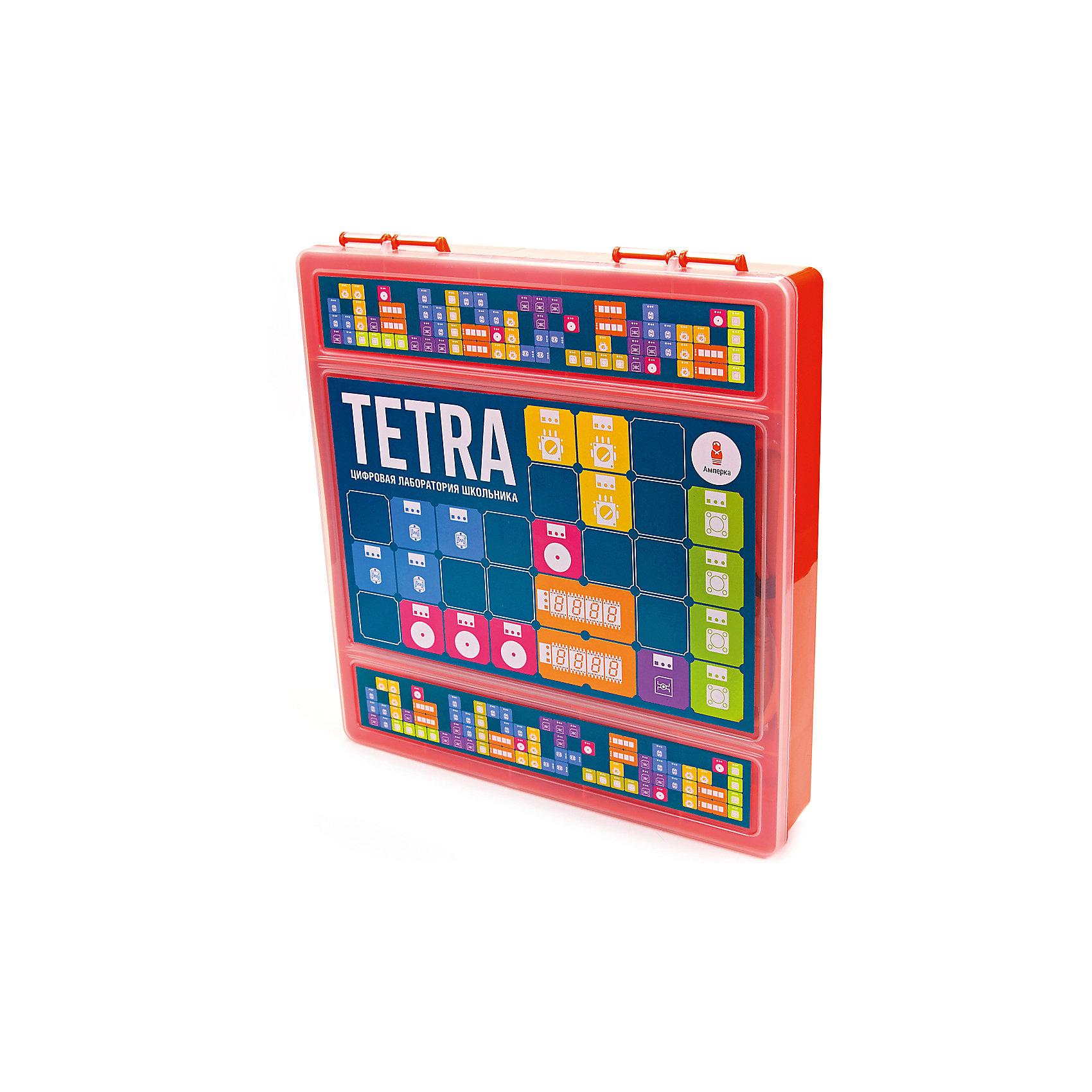 Набор Tetra, АмперкаРобототехника<br>Набор Tetra, Амперка.<br><br>Характеристики:<br><br>• Комплектация: материнская плата Tetra, светодиод красный «Пиранья» (Troyka-модуль) 2 шт, светодиод желтый «Пиранья» (Troyka-модуль) 2 шт, светодиод зеленый «Пиранья» (Troyka-модуль) 2 шт, кнопка (Troyka-модуль) 2 шт, зуммер (Troyka-модуль), аналоговый термометр (Troyka-модуль), датчик освещённости (Troyka-модуль), датчик Холла (Troyka-модуль), ИК-приёмник (Troyka-модуль), потенциометр (Troyka-модуль), микросервопривод FS90, кабель USB (A — B), книга<br>• Упаковка: пластиковая коробка<br>• Размер упаковки: 26х24х15 см.<br><br>Хотите научить ребёнка основам программирования, но понимаете, что скучные книги могут навсегда отбить его интерес к этой теме? Набор «Tetra» — отличное решение для начала увлекательных экспериментов, которые не оставят ребёнка равнодушным и станут первым шагом в освоении этой науки. Набор состоит из материнской платы Tetra, комплекта электронных модулей и книги с экспериментами. Книга в наборе подробно рассказывает, как работать с платой и средой программирования. Эксперименты и программы идут от простых к более сложным. <br><br>Всего в книге — 96 заданий, включая эксперименты для самостоятельного выполнения и идеи для собственных проектов. Желаемое поведение устройства описывают с помощью визуального языка программирования Scratch (Скретч), который специально создан для изучения детьми основ программирования. Плата Tetra — это настоящий маленький компьютер. Можно подключить Tetra к своему компьютеру через обычный USB-кабель, а затем запрограммировать её на выполнение задуманного алгоритма, и тем самым создать собственное электронное устройство.<br><br>Набор Tetra, Амперка можно купить в нашем интернет-магазине.<br><br>Ширина мм: 260<br>Глубина мм: 240<br>Высота мм: 15<br>Вес г: 1609<br>Возраст от месяцев: 168<br>Возраст до месяцев: 108<br>Пол: Унисекс<br>Возраст: Детский<br>SKU: 5427689