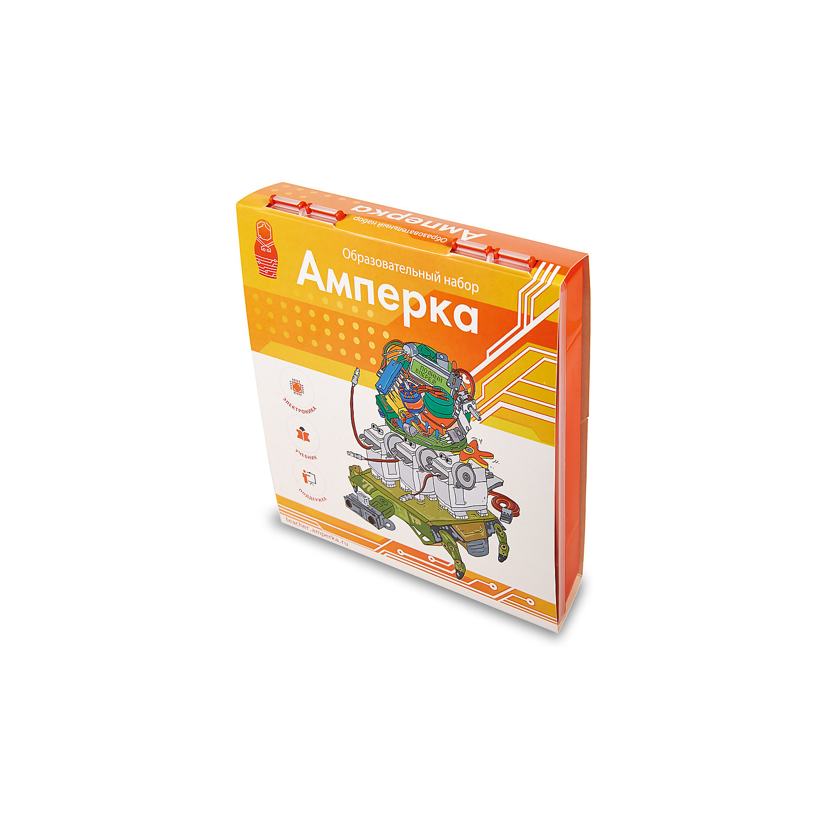 Образовательный набор АмперкаРобототехника<br>Образовательный набор Амперка.<br><br>Характеристики:<br><br>•Комплектация: плата Arduino Uno, датчик линии 2 шт, датчик наклона, фоторезисторы 2 шт, термисторы 2 шт, кнопка тактовая 4 шт, потенциометр 2 шт, макетная доска, соединительный провод 75 шт, USB-кабель, разъём для батарейки, двухколёсное шасси робота, сервопривод, текстовый ЖК-экран, 7-сегментный индикатор 2 шт, светодиод красный 12 шт, светодиод жёлтый, зеленый по 4 шт, трёхцветный светодиод 2 шт, пьезоизлучатель звука 2 шт, резисторы 120 шт, биполярный транзистор 10 шт, транзистор MOSFET 4 шт, микросхема CD4026 2 шт, выпрямительный диод 5 шт, мультиметр, драйвер моторов Motor Shield, расширитель портов Troyka Shield, учебник «Основы программирования микроконтроллеров»<br><br>Образовательный набор «Амперка» представляет собой готовый учебный курс, который будет интересен начинающим инженерам от 12 лет. По окончании курса юный технарь: получит навыки сборки электрических схем; научится создавать собственные цифровые устройства и соберёт робота; на практике применит знания о законах электричества; освоит прикладное программирование на C++. <br><br>Учебник, входящий в набор, включает 17 параграфов, которые поэтапно разъясняют, как строятся электронные устройства. Первые параграфы посвящены понятию микроконтроллера, азам программирования, освежению в памяти основных законов электричества. Далее рассматриваются важные аспекты создания собственных электронных устройств. Компоненты, входящие в состав набора — это тщательно подобранные элементы мини-лаборатории. В пластиковой коробке имеется всё необходимое: от базовых электронных компонентов вроде резисторов, светодиодов и транзисторов до моторов, сенсоров, LCD-экрана и мобильной платформы для построения роботов. <br><br>А еще в наборы входят макетные доски (breadboard) и макетные провода. Они позволяют собирать любые электрические цепи без всякой пайки. Компоненты просто вставляются в отверстия с защёлками и соедин