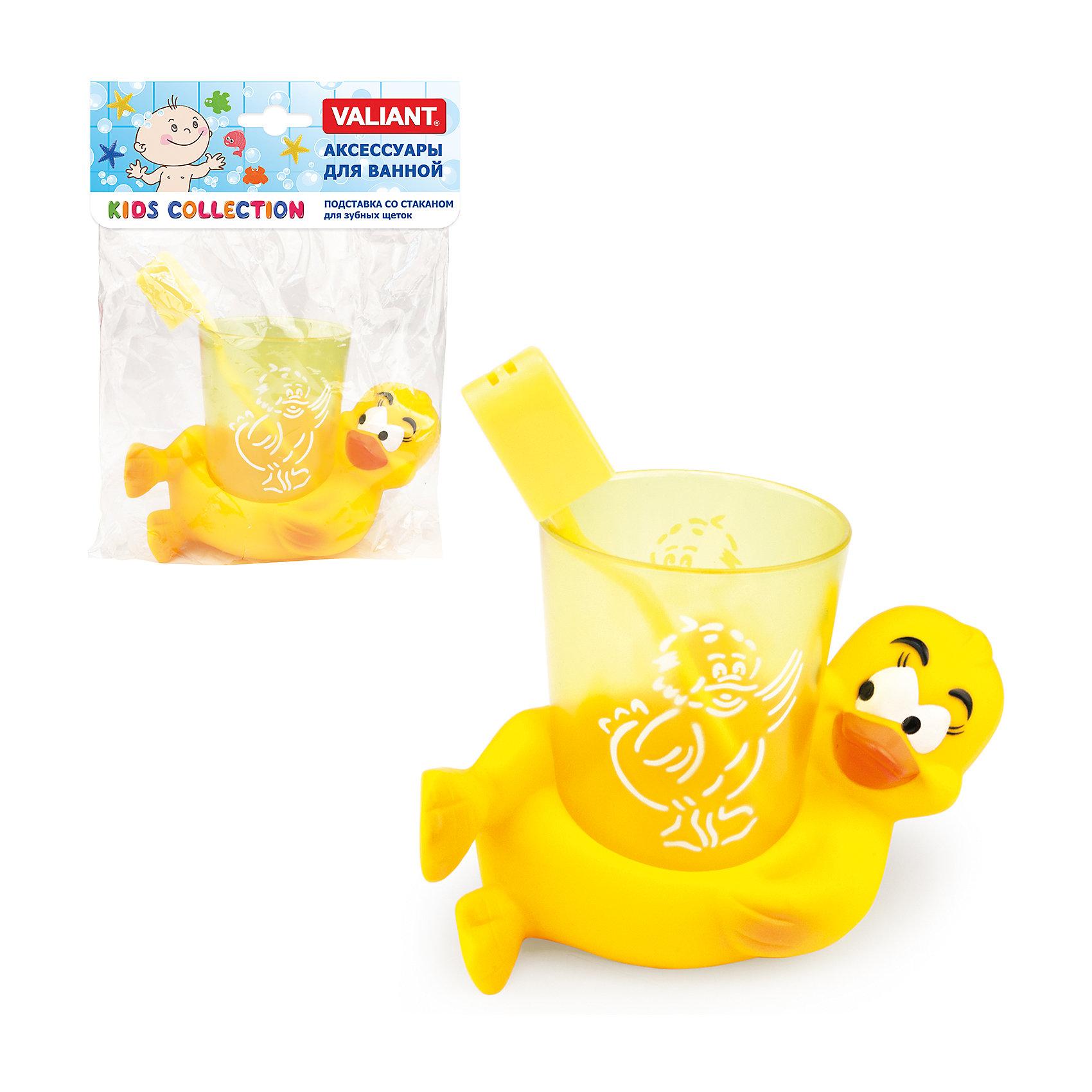 Подставка со стаканом для зубных щеток Утята, VALIANTТовары для купания<br>Подставка со стаканом для зубных щеток Утята, VALIANT.<br><br>Характеристики:<br><br>• В наборе: стакан, подставка<br>• Цвет: желтый<br>• Размер:  9,5х8х3,5 см.<br>• Материал: ПВХ без фталатов<br>• Упаковка: PP пакет<br><br>Подставка со стаканом для зубных щеток Утята - яркий, весёлый и полезный аксессуар в ванную комнату! Набор отлично впишется в интерьер, и, несомненно, понравится малышу. С глазастым, желтым утенком будет легко приучить малыша к ежедневной гигиене. Набор изготовлен из абсолютно безопасного материала.<br><br>Подставку со стаканом для зубных щеток Утята, VALIANT можно купить в нашем интернет-магазине.<br><br>Ширина мм: 150<br>Глубина мм: 70<br>Высота мм: 150<br>Вес г: 167<br>Возраст от месяцев: 36<br>Возраст до месяцев: 144<br>Пол: Унисекс<br>Возраст: Детский<br>SKU: 5427695